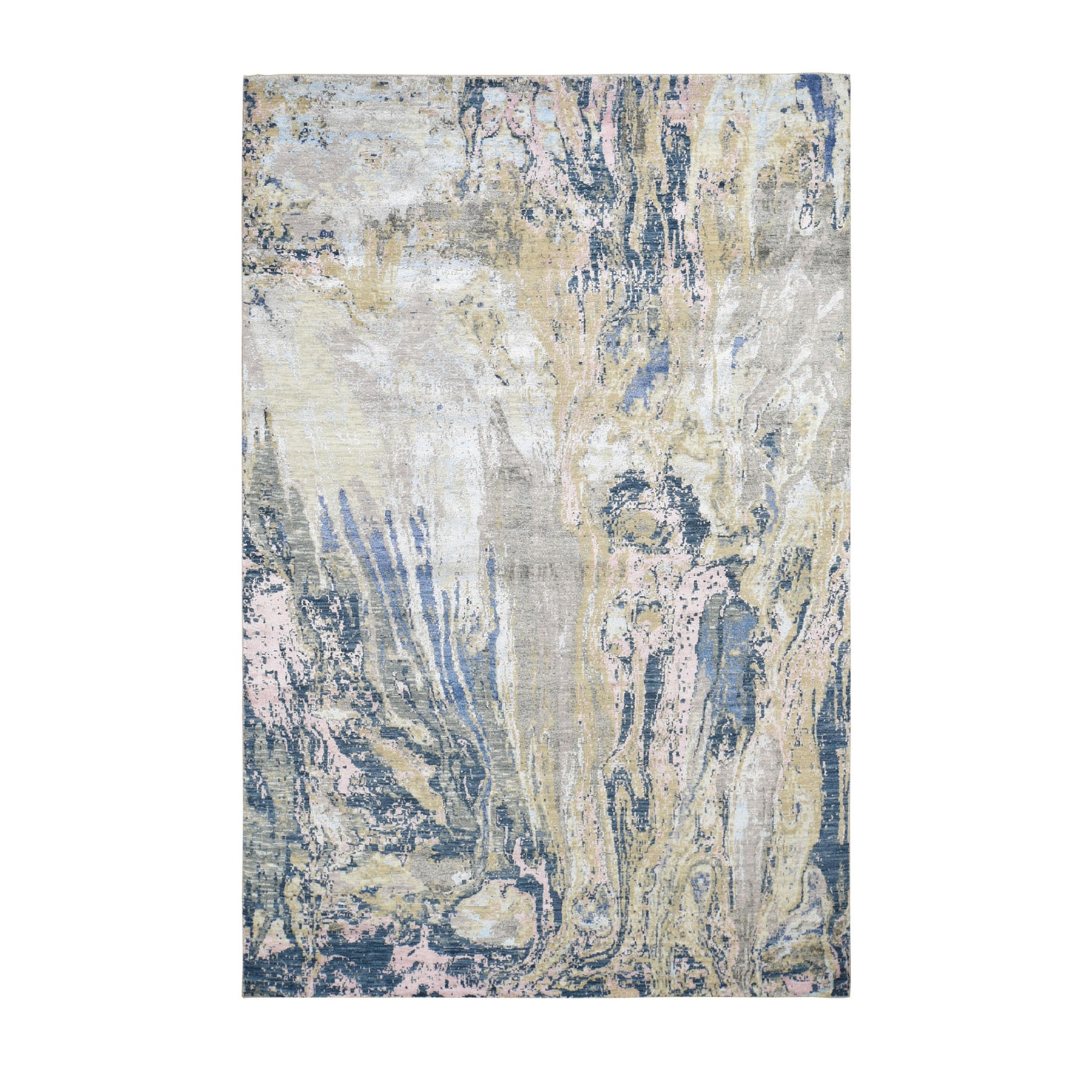 Mid Century Modern Collection Hand Knotted Grey Rug No: 0196512