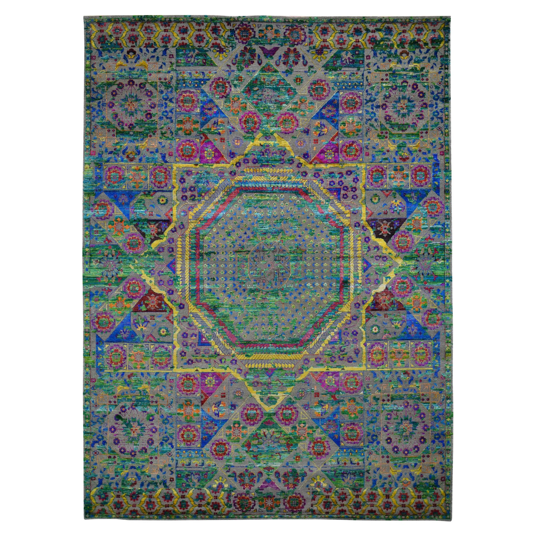 Intricate Collection Hand Knotted Green Rug No: 0196700