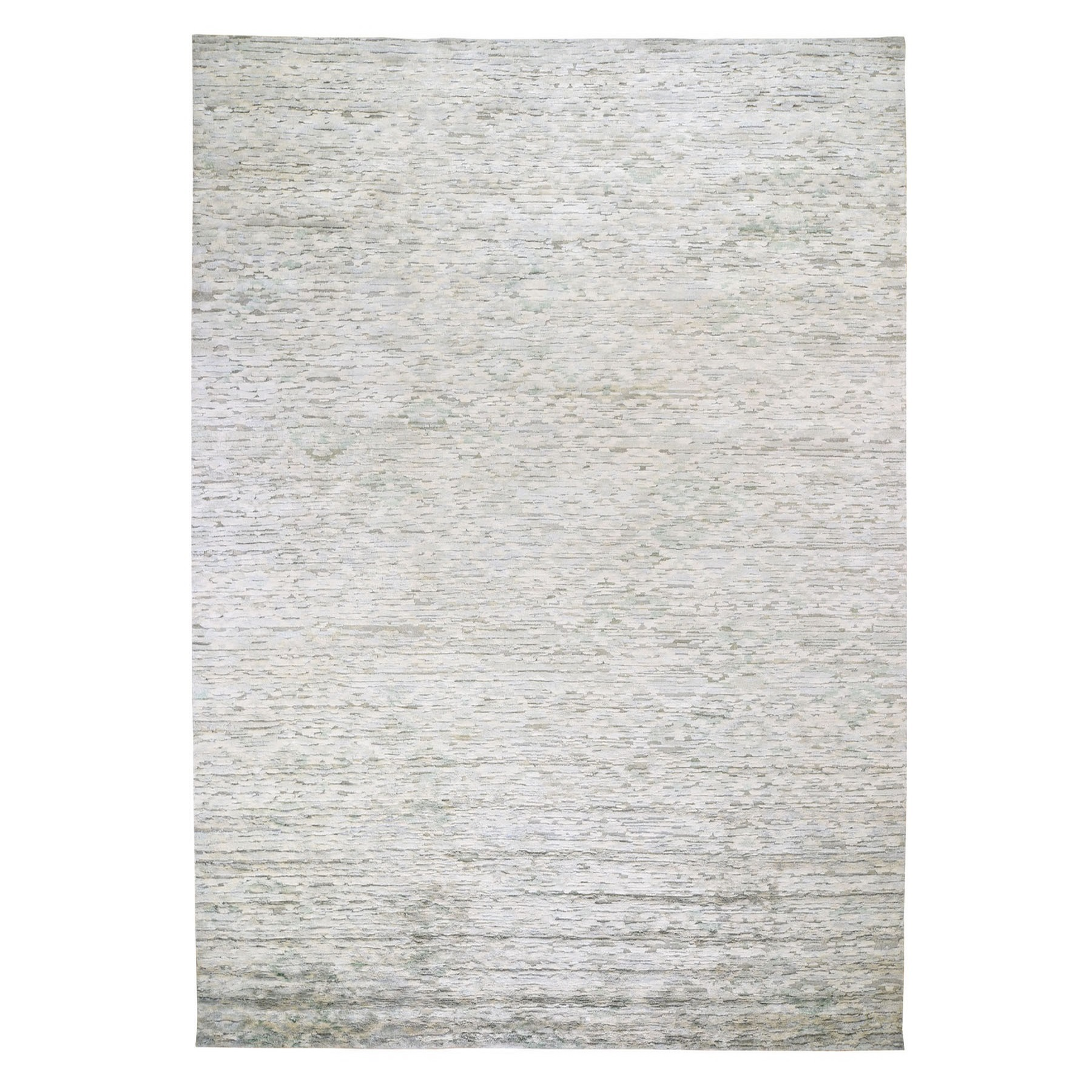 Mid Century Modern Collection Hand Knotted Green Rug No: 0196706