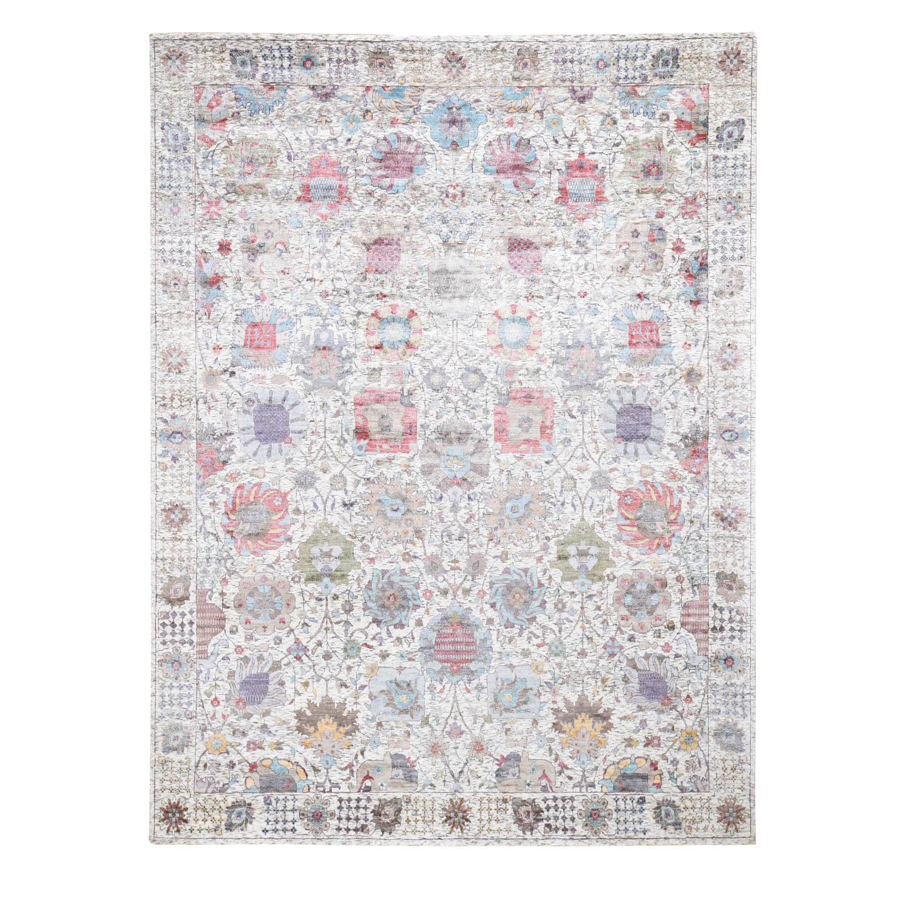 Transitional Hand Knotted Ivory Rug No: 0196702