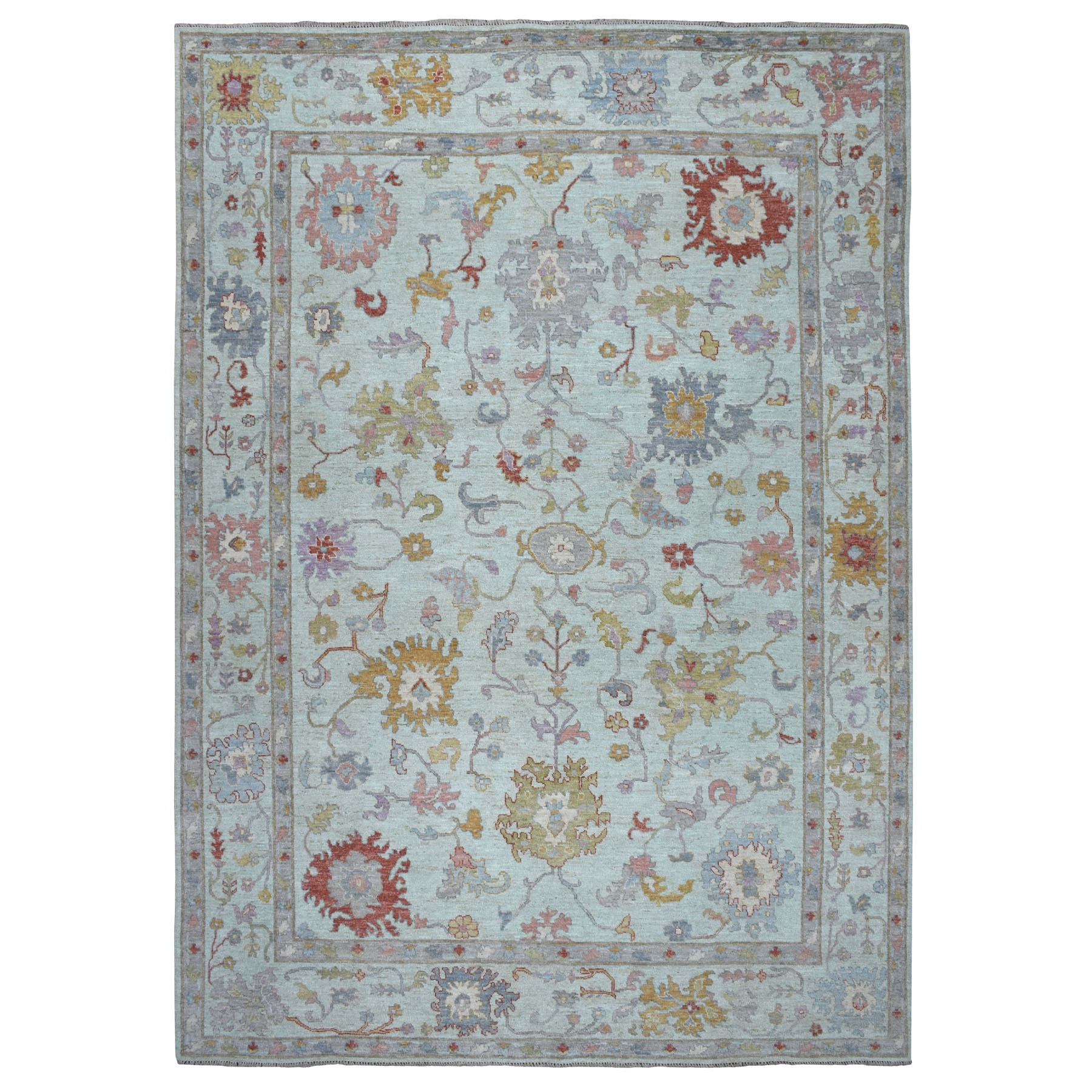 Agra And Turkish Collection Hand Knotted Green Rug No: 01107170