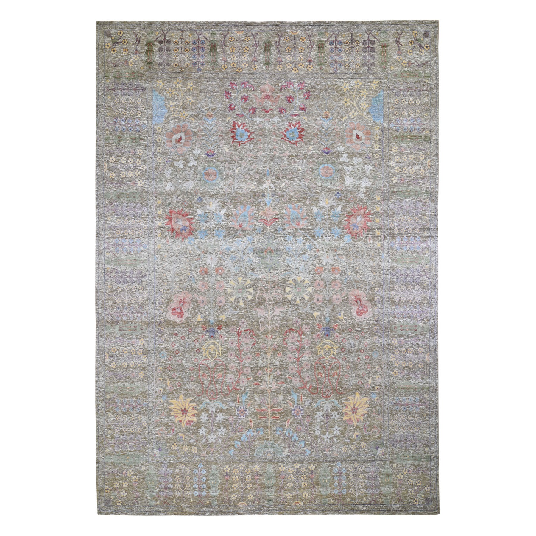 Wool and Real Silk Collection Hand Knotted Brown Rug No: 0196698