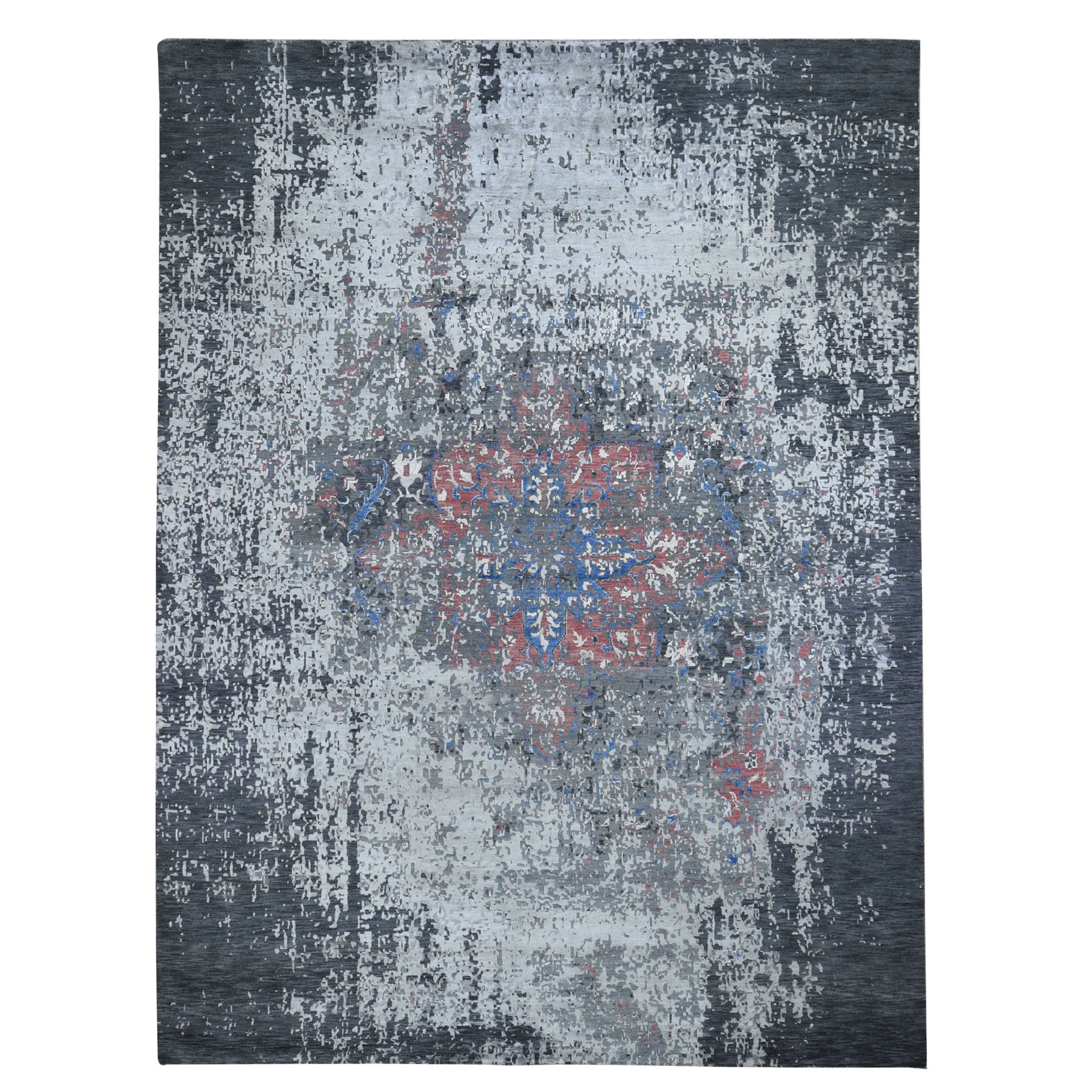 Wool and Real Silk Collection Hand Knotted Grey Rug No: 0196722