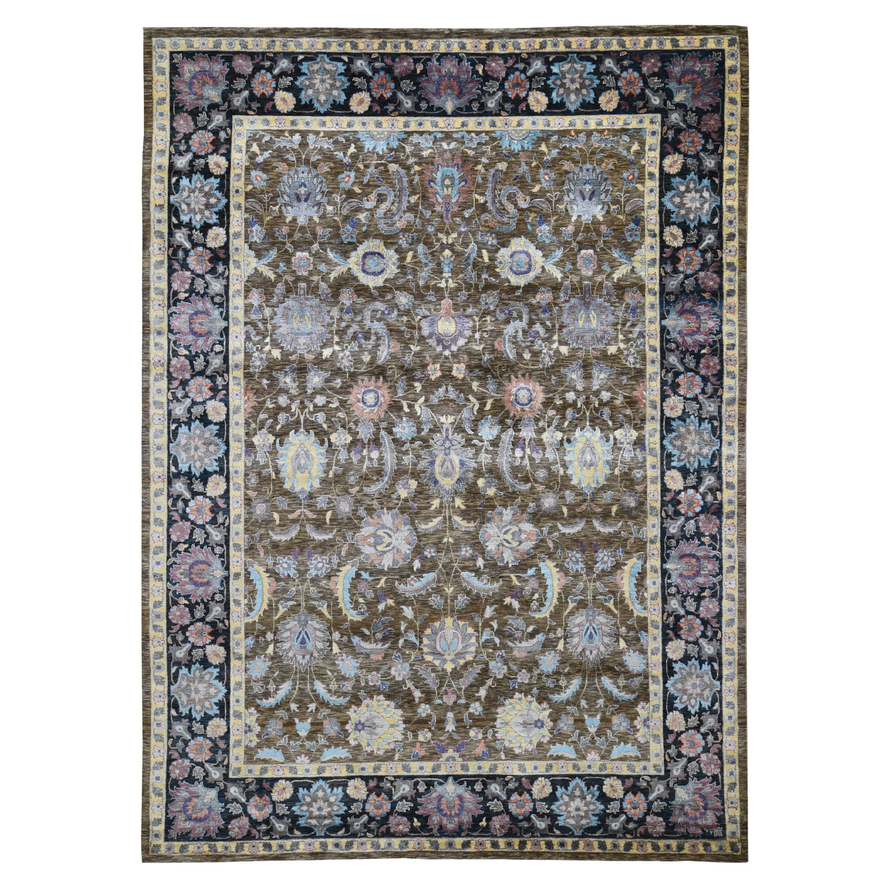 Wool and Real Silk Collection Hand Knotted Brown Rug No: 0196738