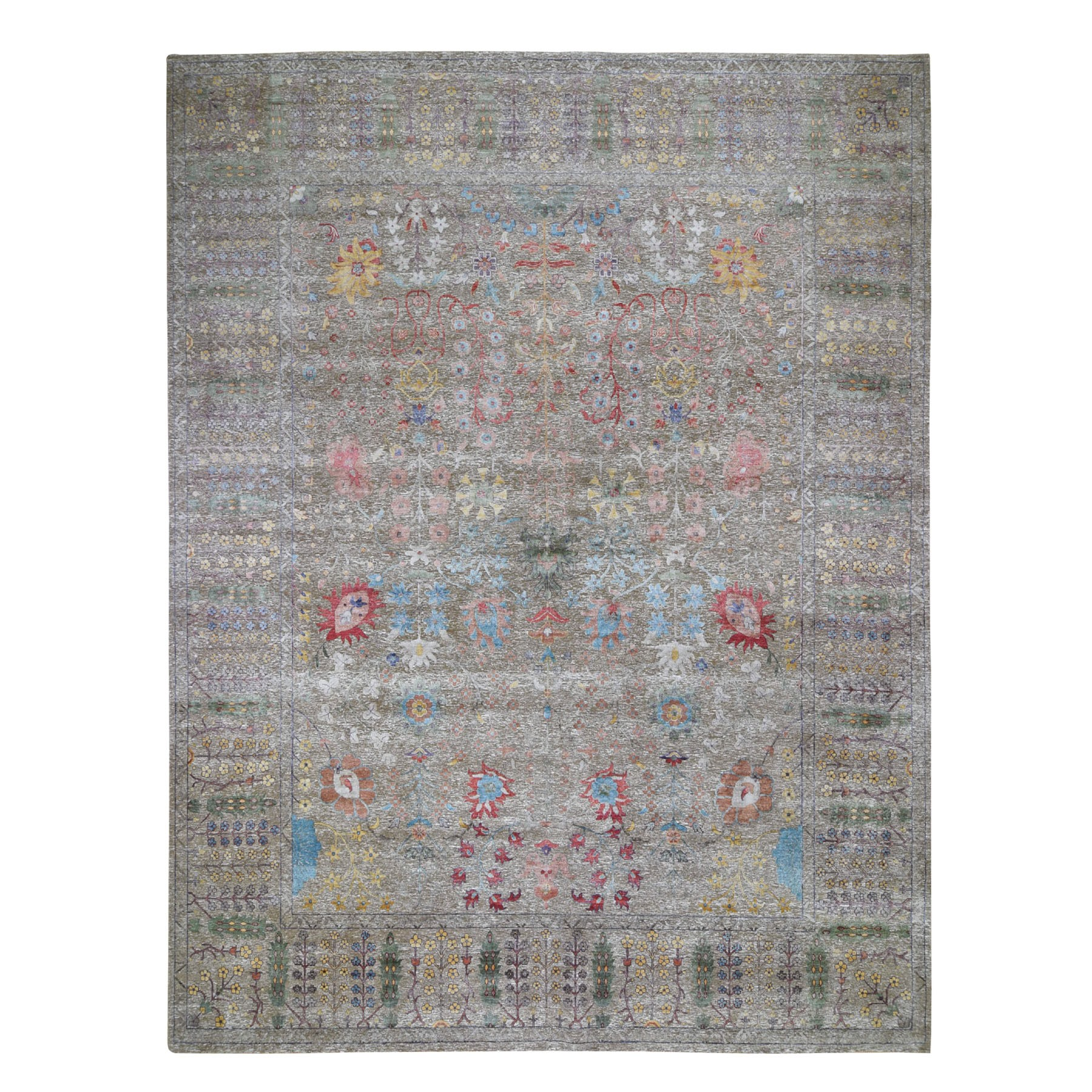 Wool and Real Silk Collection Hand Knotted Brown Rug No: 196742