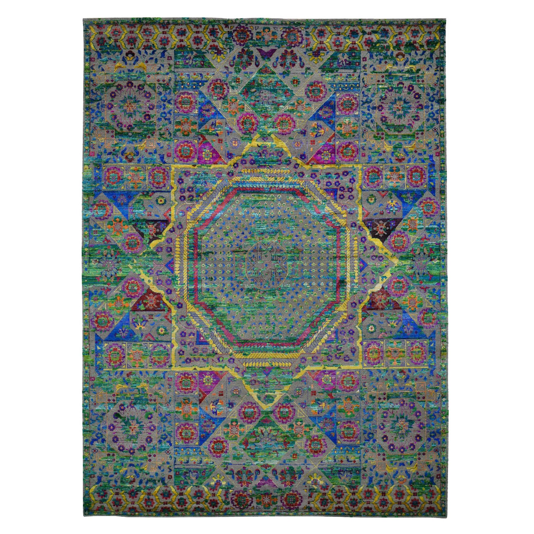 Intricate Collection Hand Knotted Green Rug No: 0196748