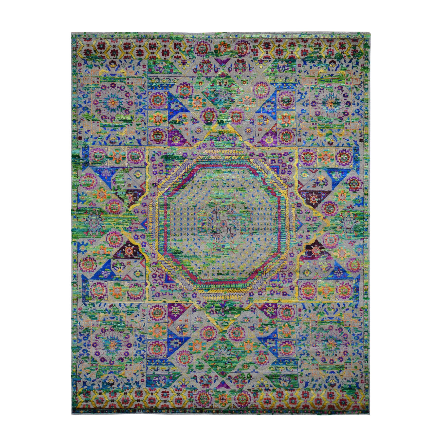 Intricate Collection Hand Knotted Green Rug No: 0196754
