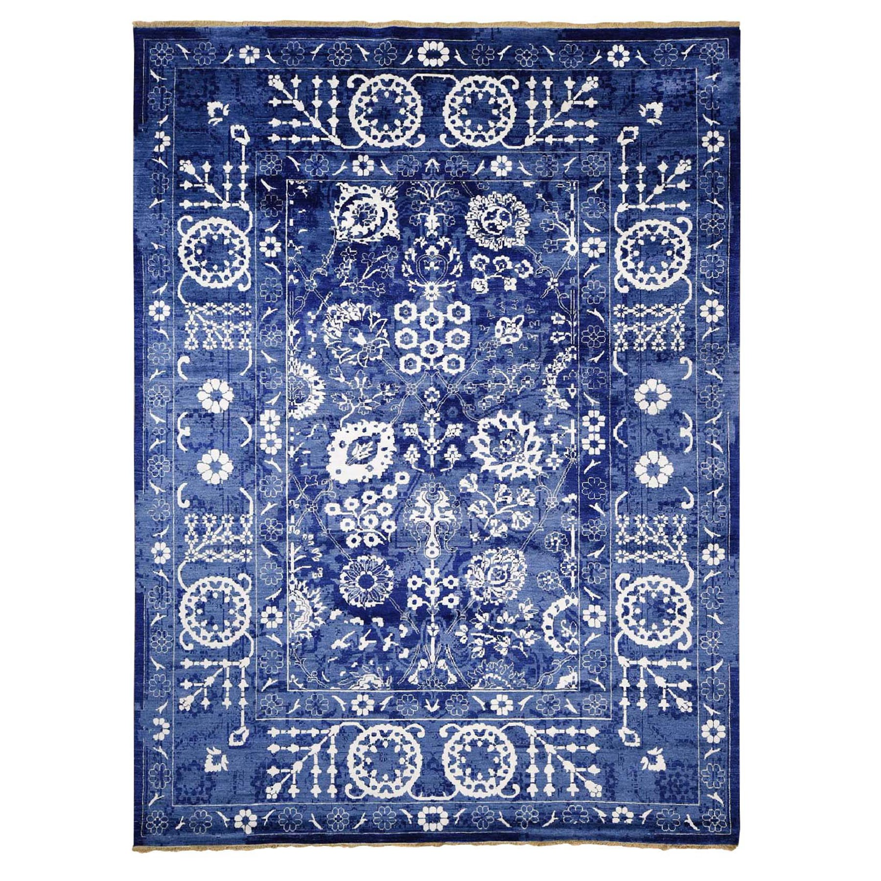 Transitional Hand Knotted Blue Rug No: 0196764