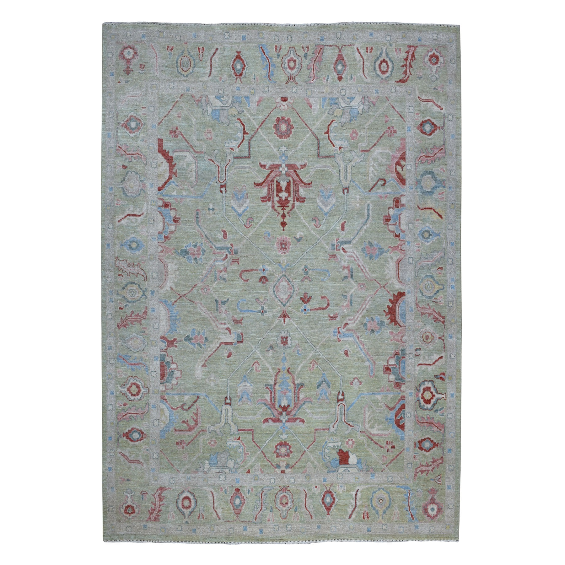 Agra And Turkish Collection Hand Knotted Green Rug No: 01107302