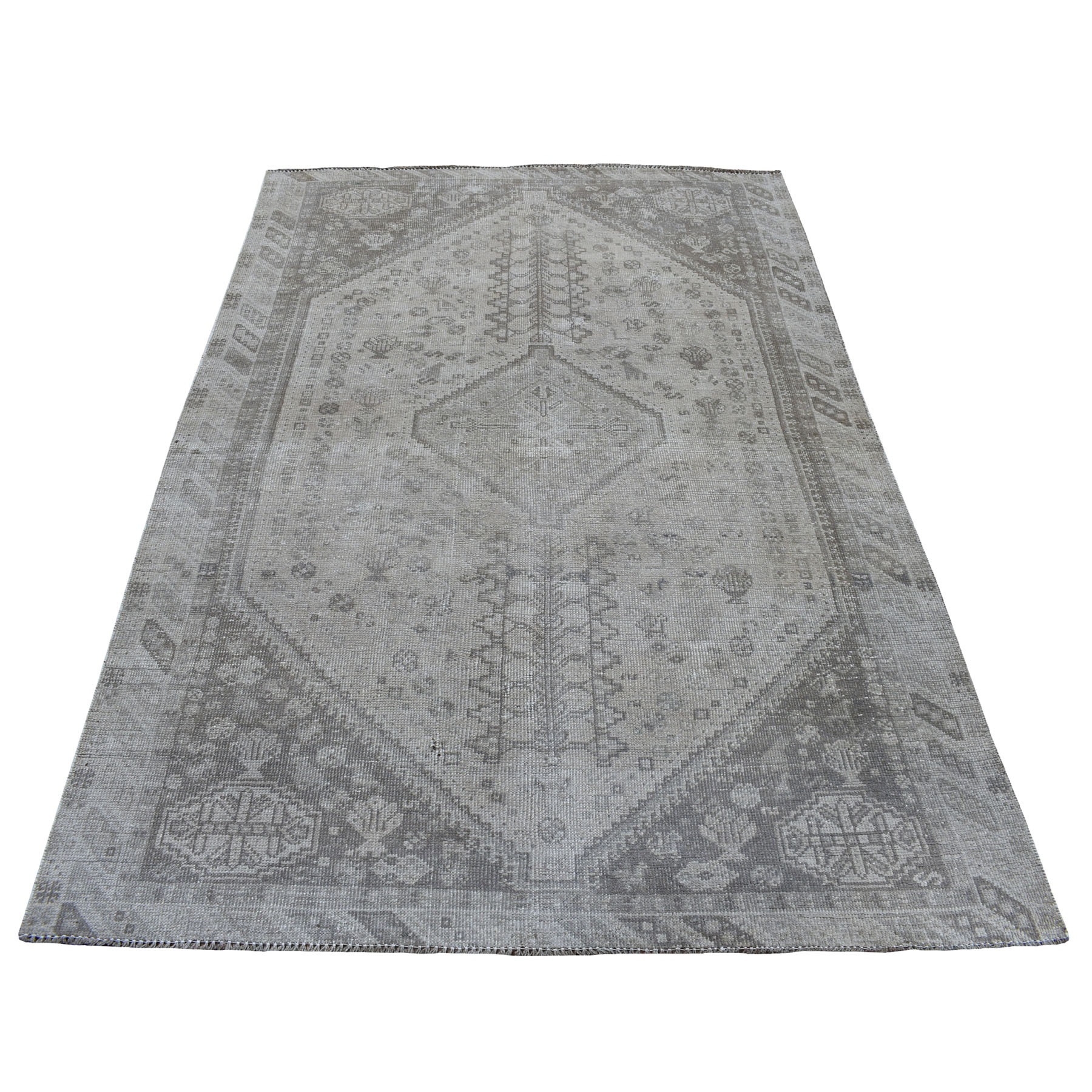 Fetneh Collection And Vintage Overdyed Collection Hand Knotted Brown Rug No: 01108058