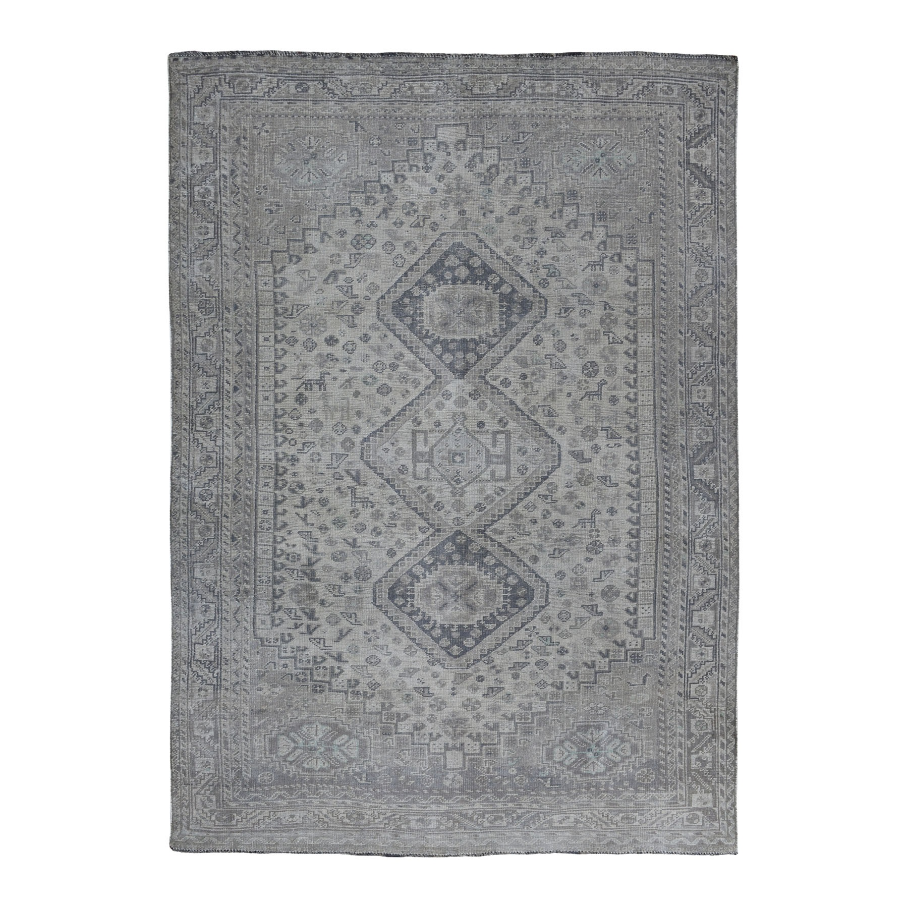 Fetneh Collection And Vintage Overdyed Collection Hand Knotted Grey Rug No: 01108070