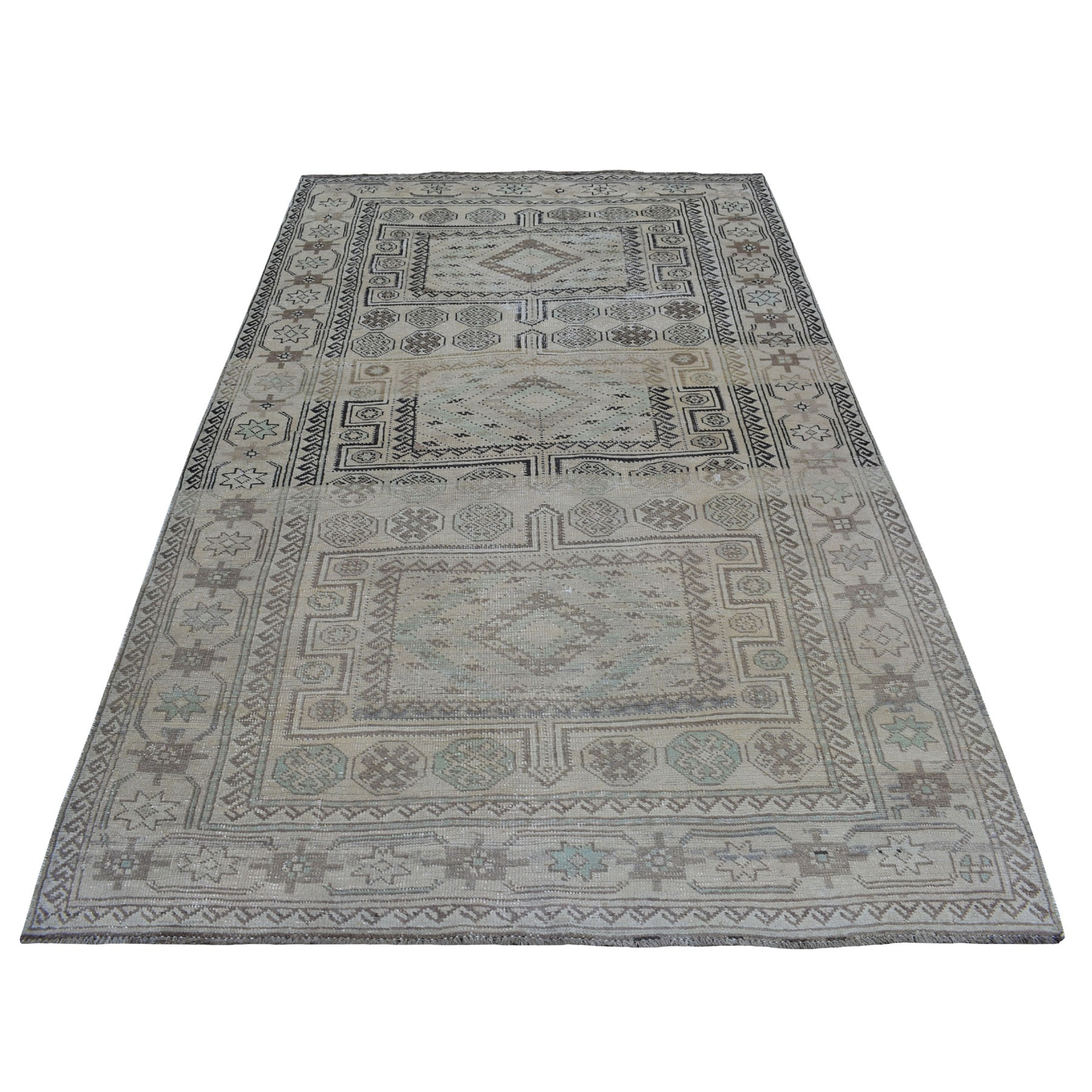 Fetneh Collection And Vintage Overdyed Collection Hand Knotted Beige Rug No: 01108092