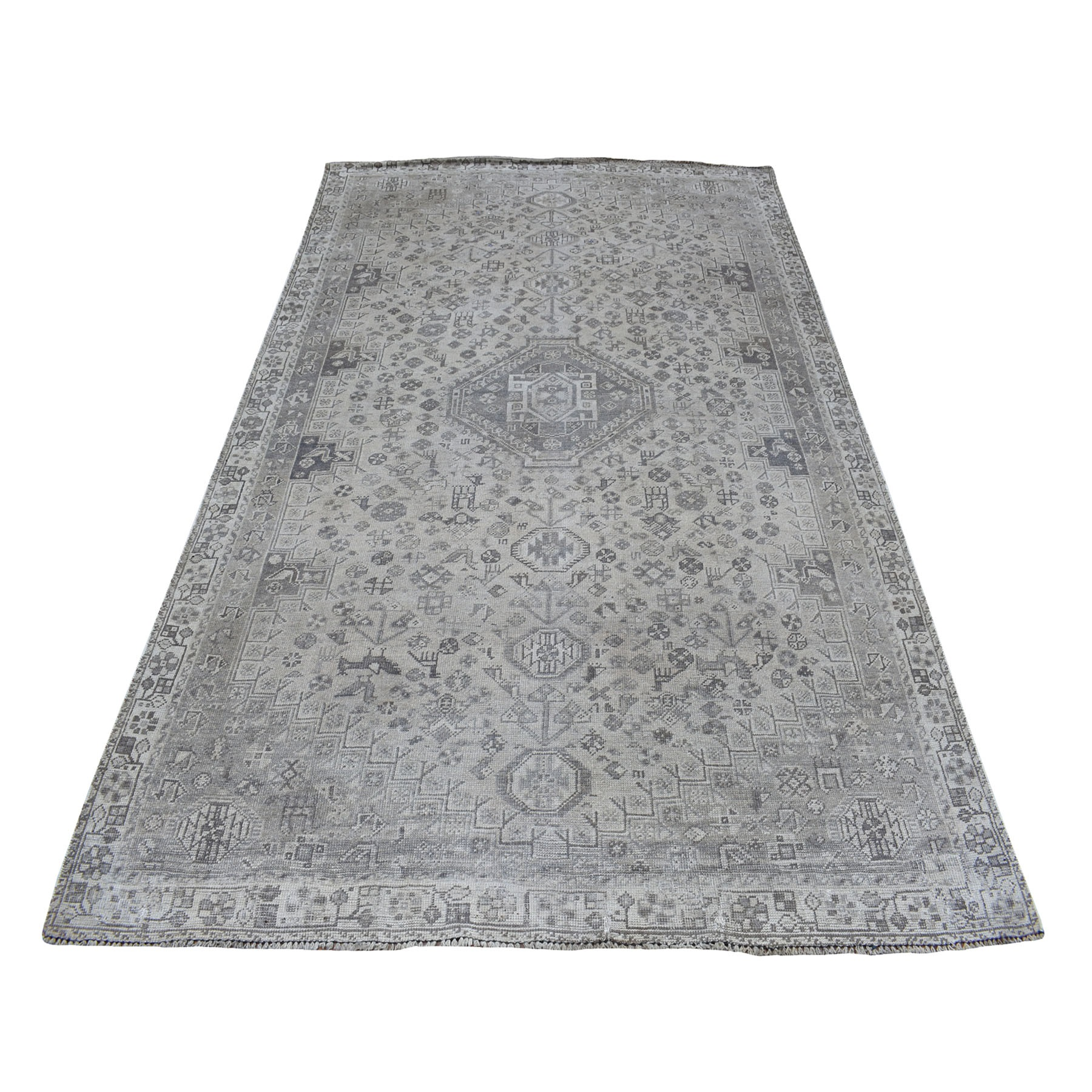 Fetneh Collection And Vintage Overdyed Collection Hand Knotted Grey Rug No: 01108106