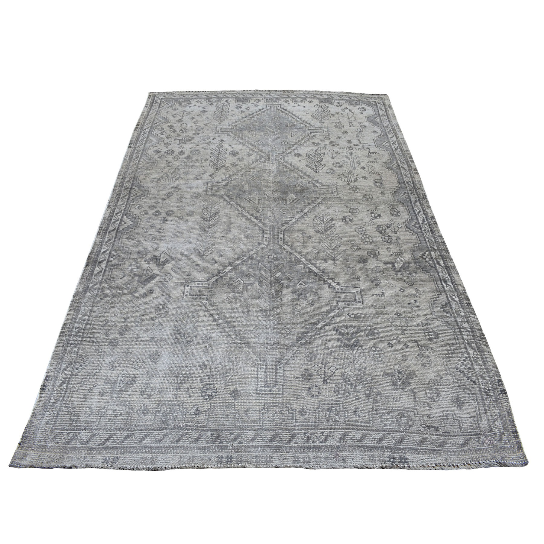 Fetneh Collection And Vintage Overdyed Collection Hand Knotted Grey Rug No: 01108116