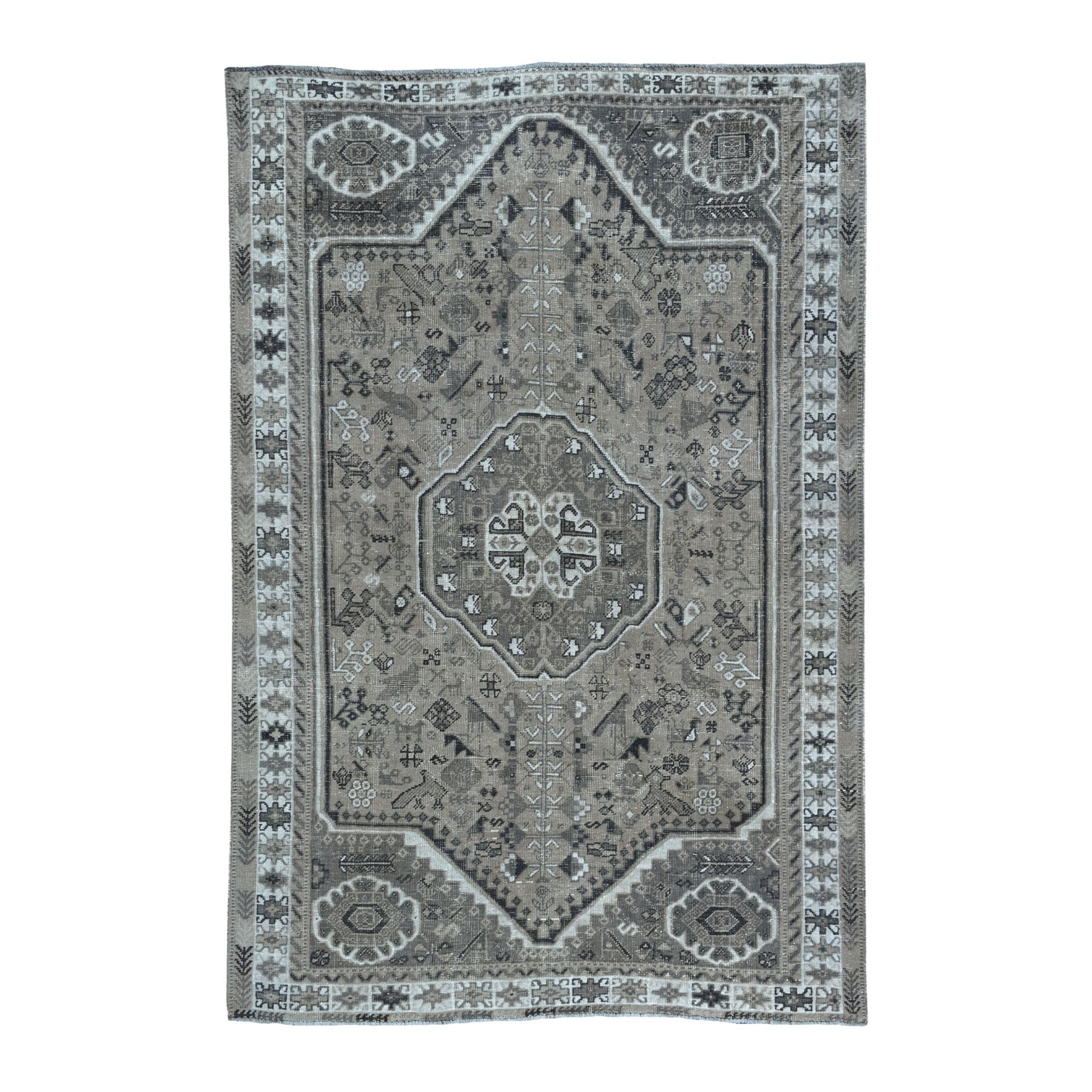 Fetneh Collection And Vintage Overdyed Collection Hand Knotted Grey Rug No: 01108256