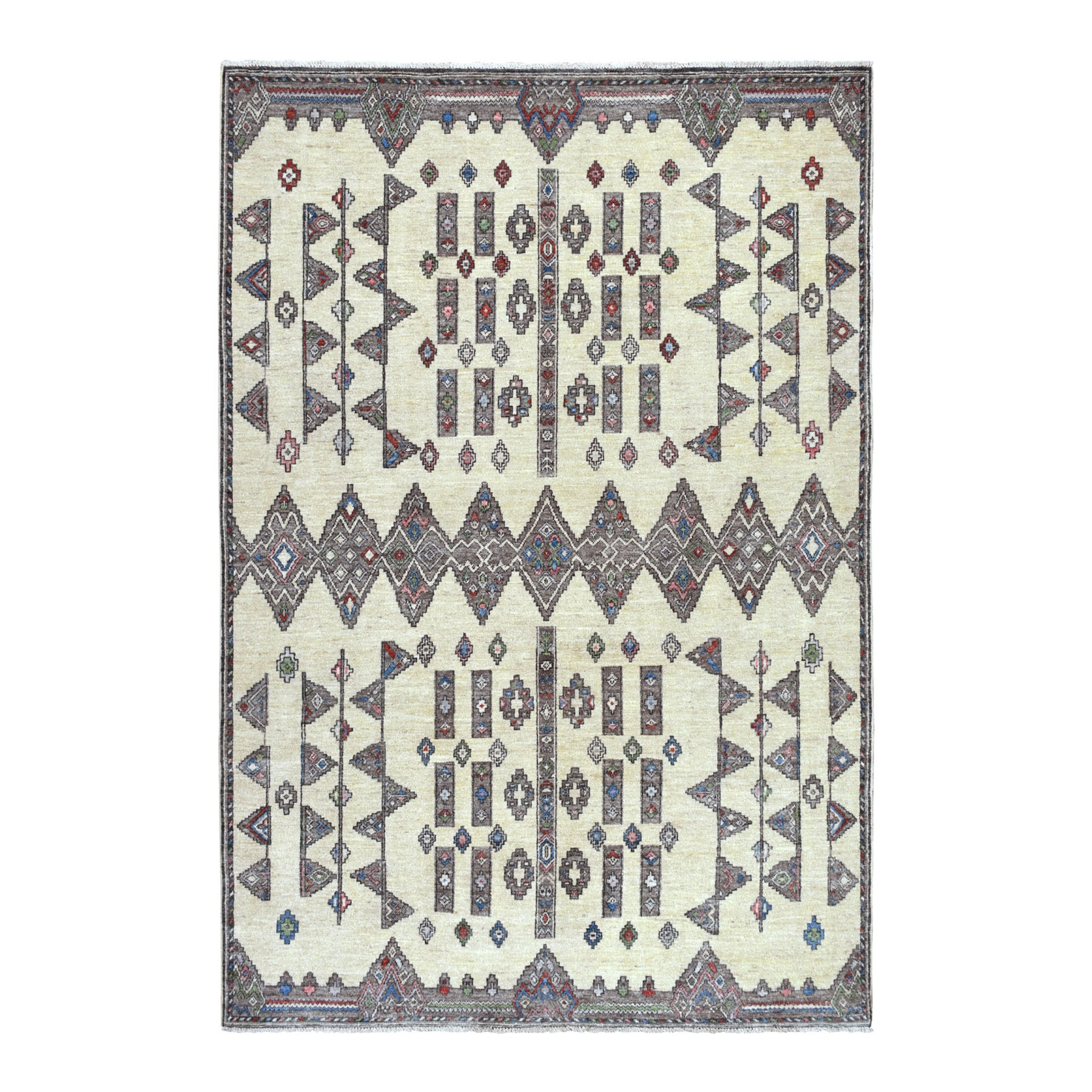 Agra And Turkish Collection Hand Knotted Ivory Rug No: 01108420