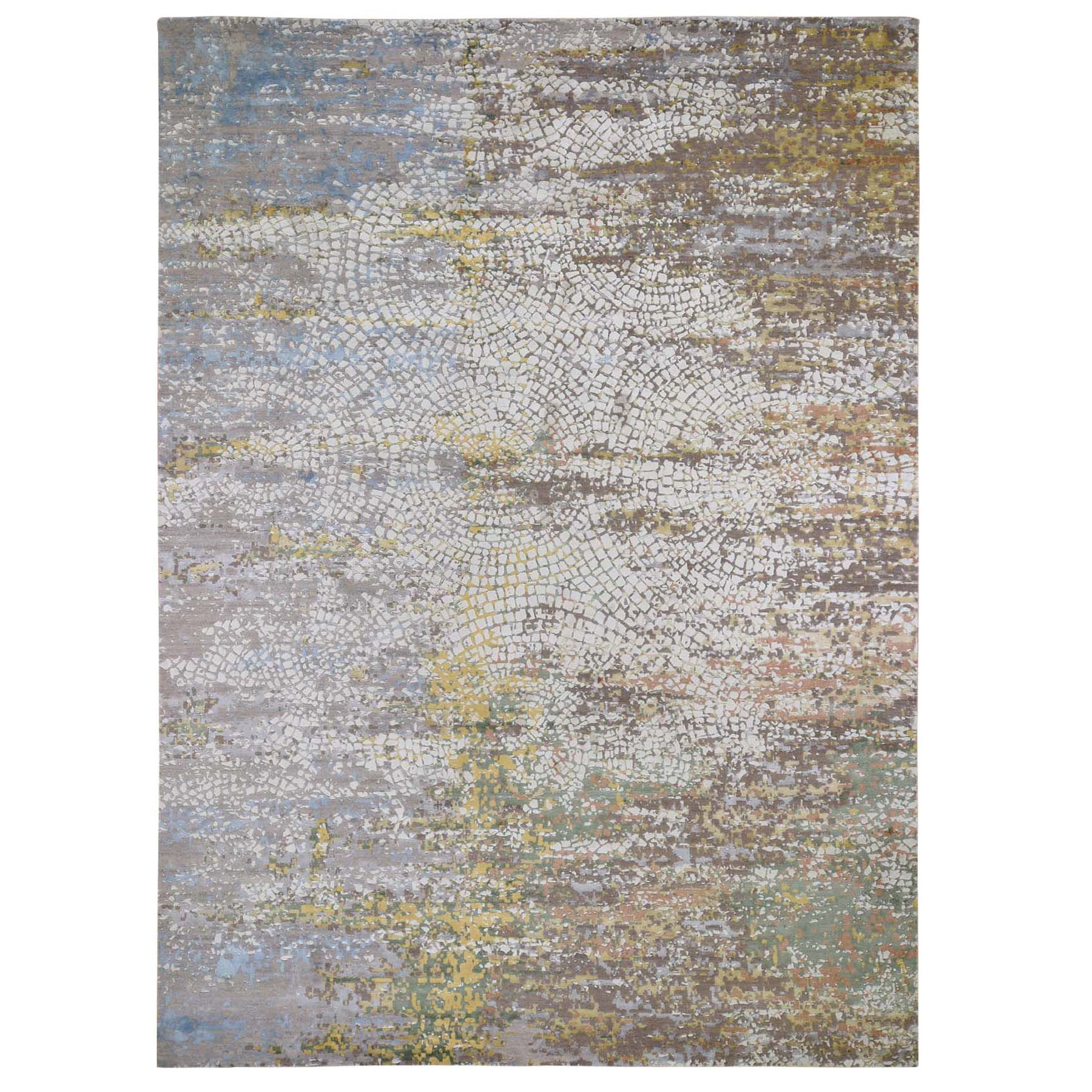 Mid Century Modern Collection Hand Knotted Ivory Rug No: 0197680