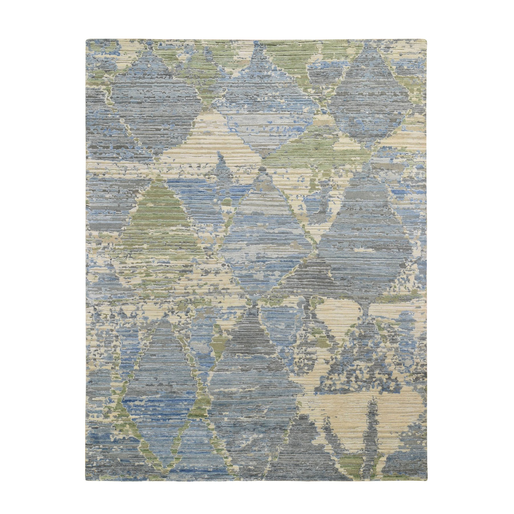 Mid Century Modern Collection Hand Knotted Blue Rug No: 0197030