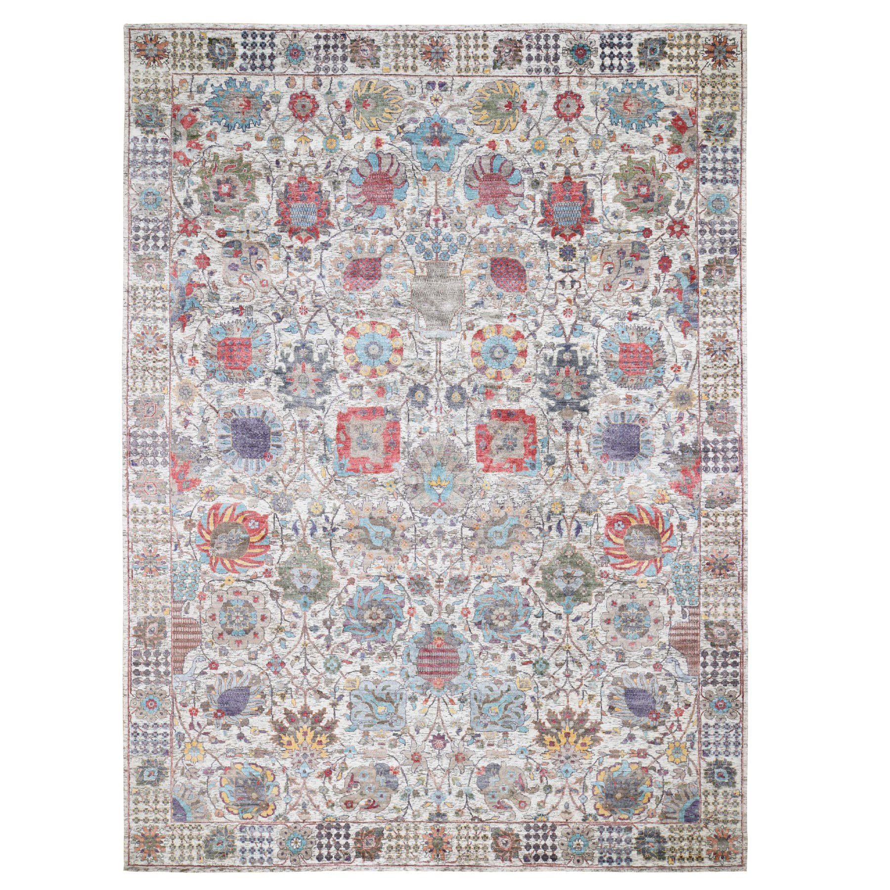 Transitional Hand Knotted Ivory Rug No: 0197694