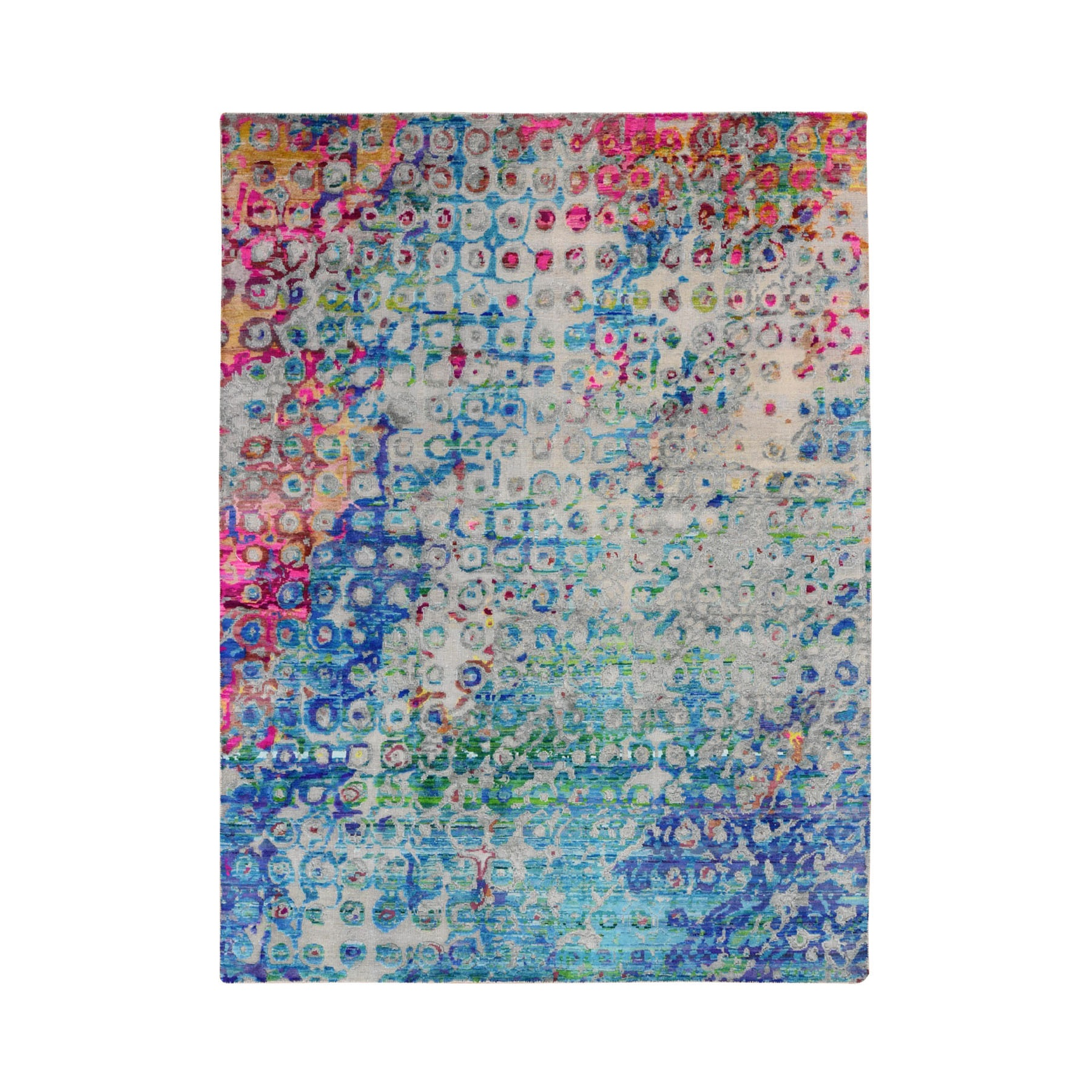Mid Century Modern Collection Hand Knotted Blue Rug No: 0197702
