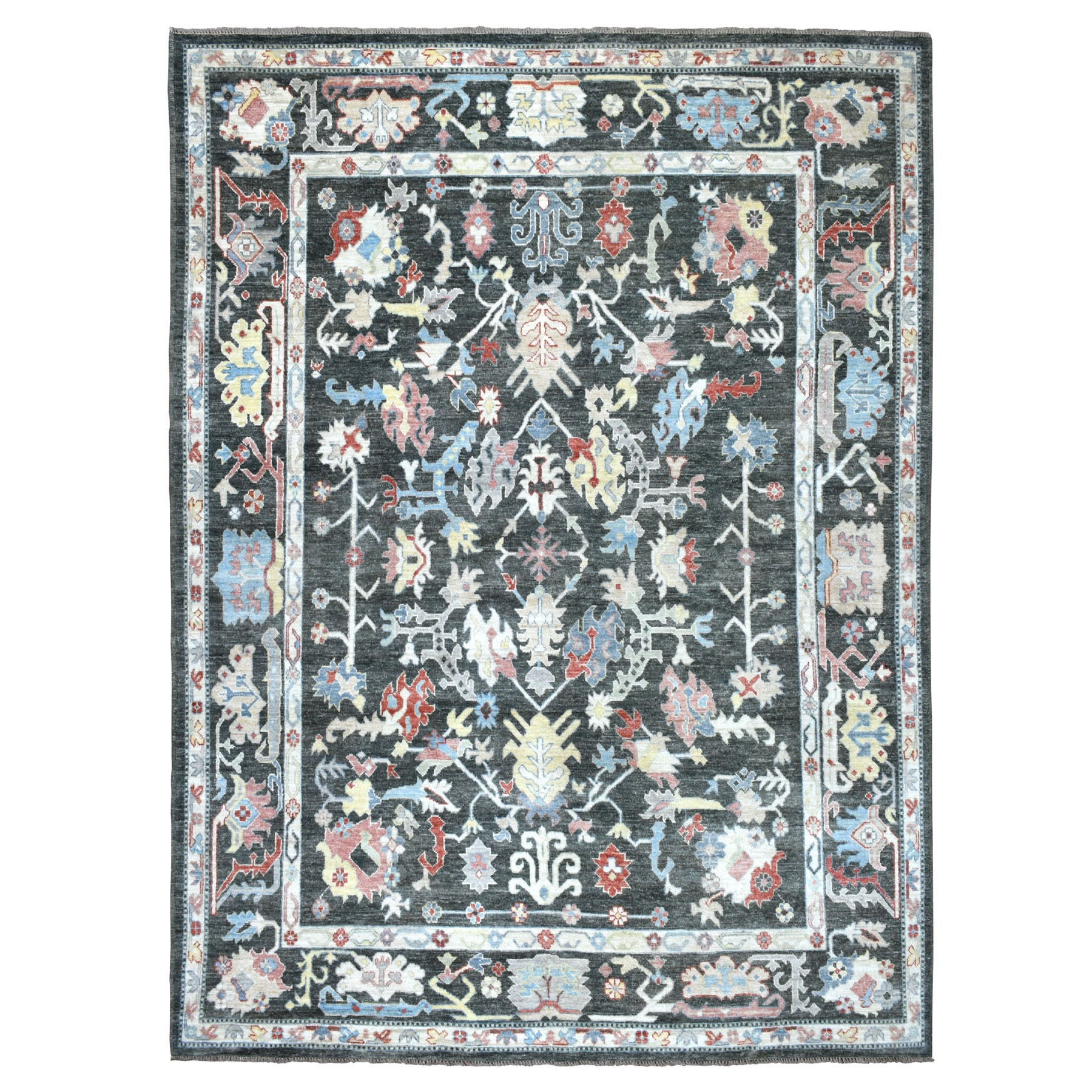 Agra And Turkish Collection Hand Knotted Black Rug No: 01108650