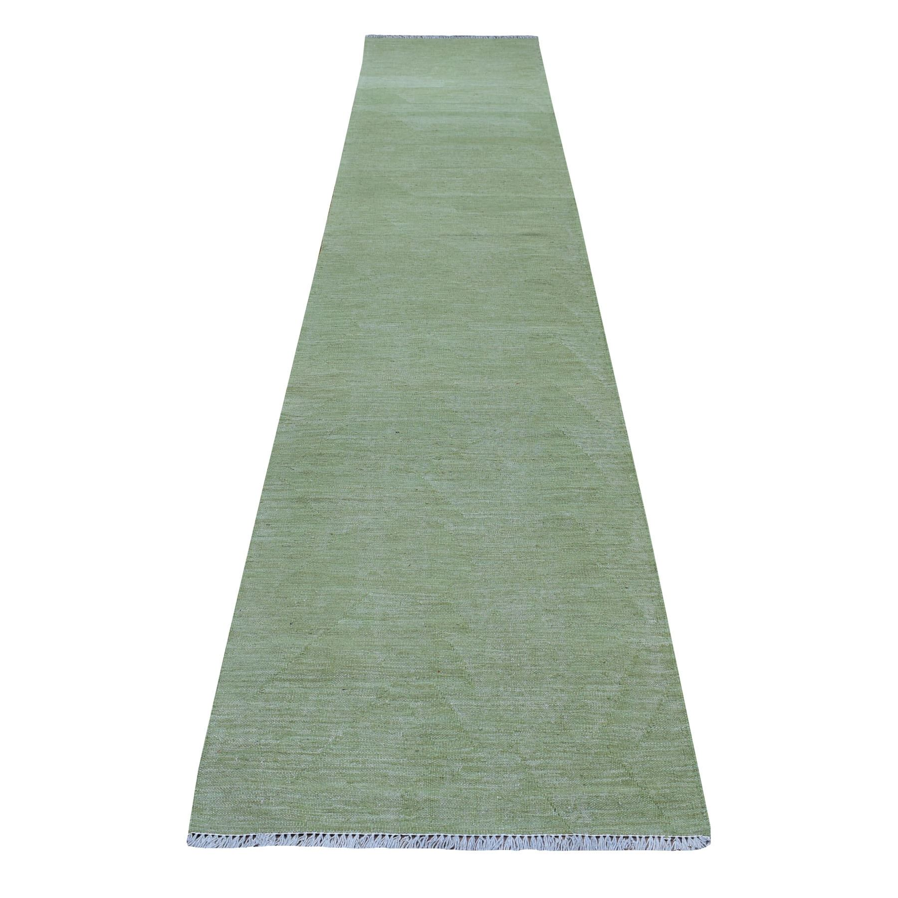 Fine Kilim Collection Hand Woven Green Rug No: 01108510