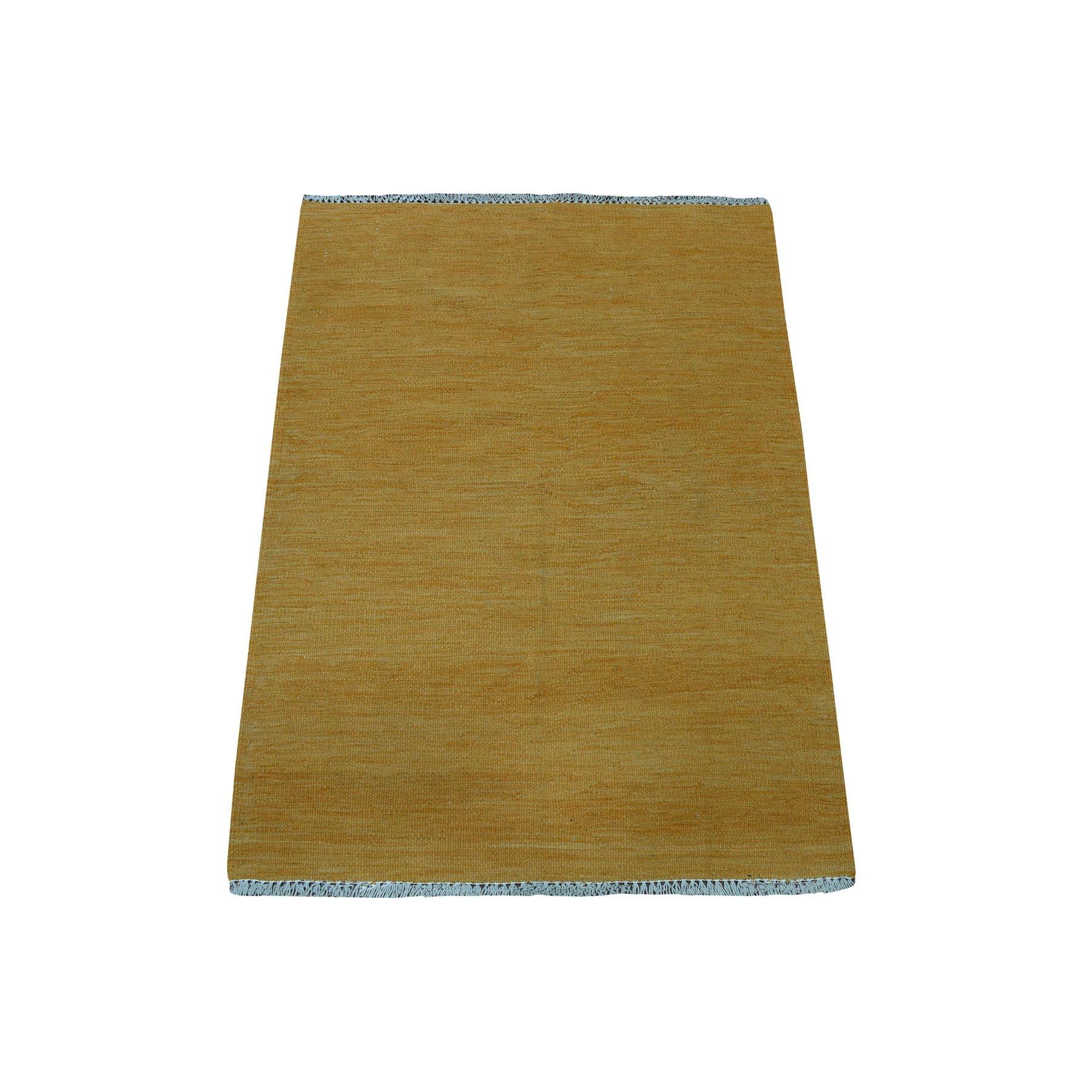 Fine Kilim Collection Hand Woven Yellow Rug No: 01108504