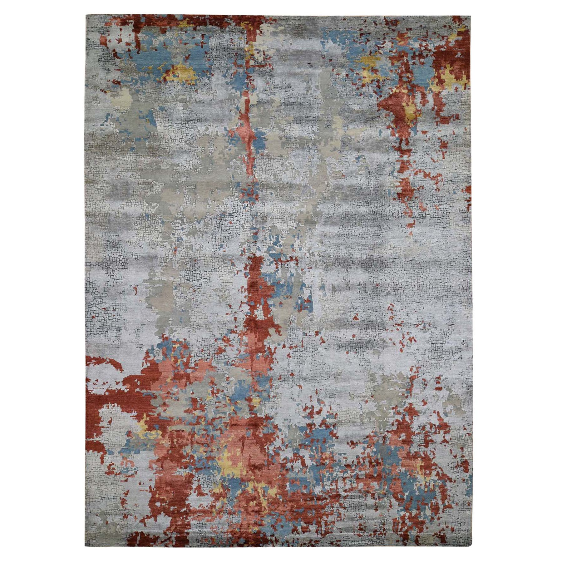 Mid Century Modern Collection Hand Knotted Grey Rug No: 197744