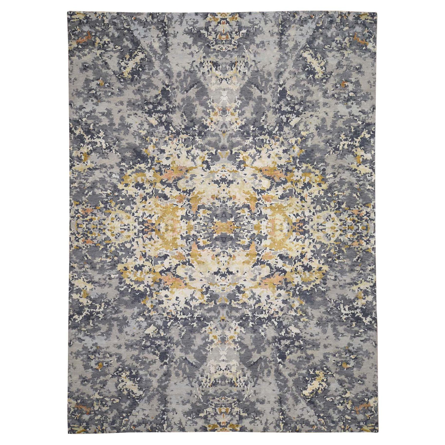 Mid Century Modern Collection Hand Knotted Grey Rug No: 0197748