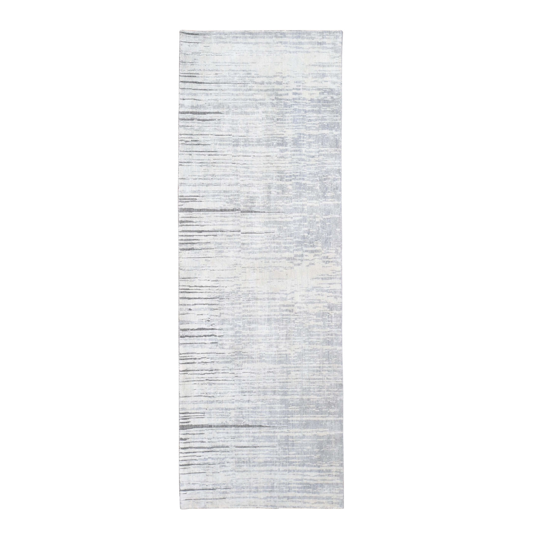 Mid Century Modern Collection Hand Knotted Grey Rug No: 0197902