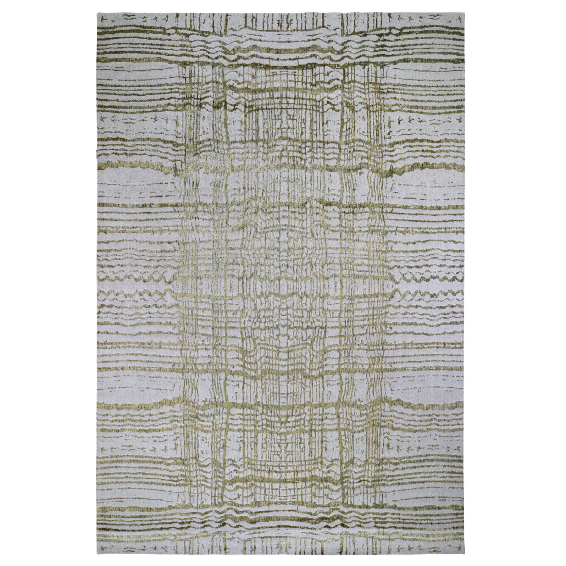 Mid Century Modern Collection Hand Loomed Grey Rug No: 0197958
