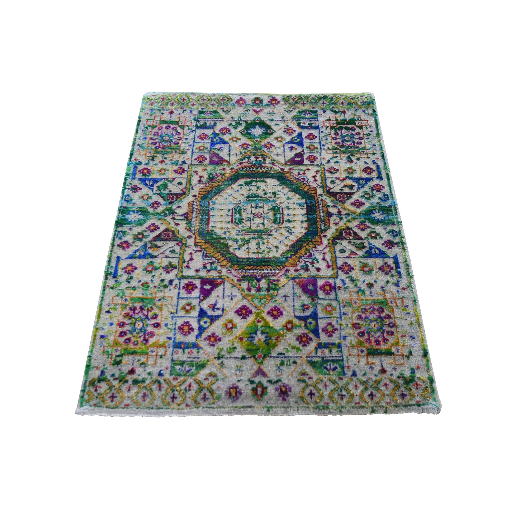 Intricate Collection Hand Knotted Green Rug No: 0197980