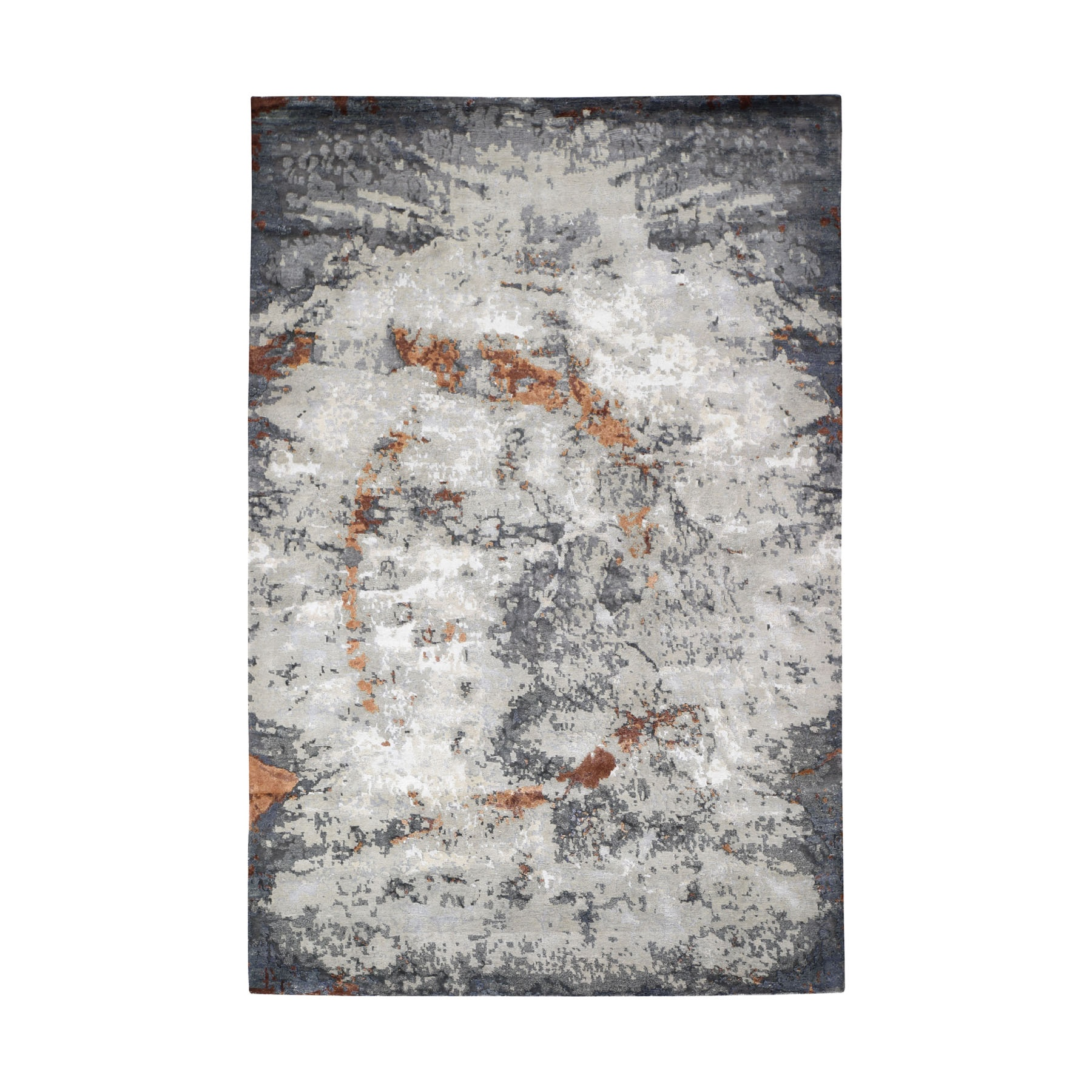 Mid Century Modern Collection Hand Knotted Grey Rug No: 0195040