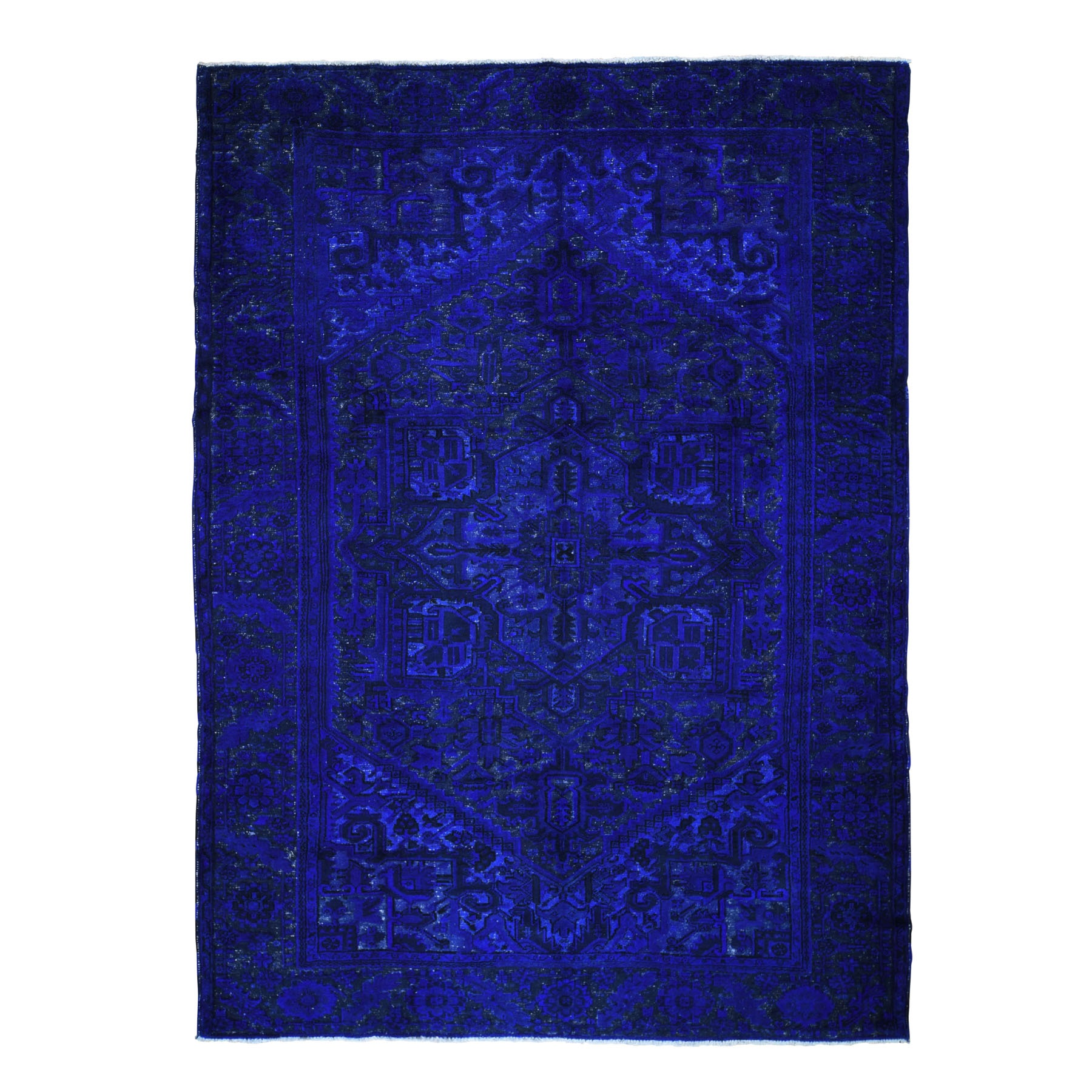 Fetneh Collection And Vintage Overdyed Collection Hand Knotted Blue Rug No: 198064