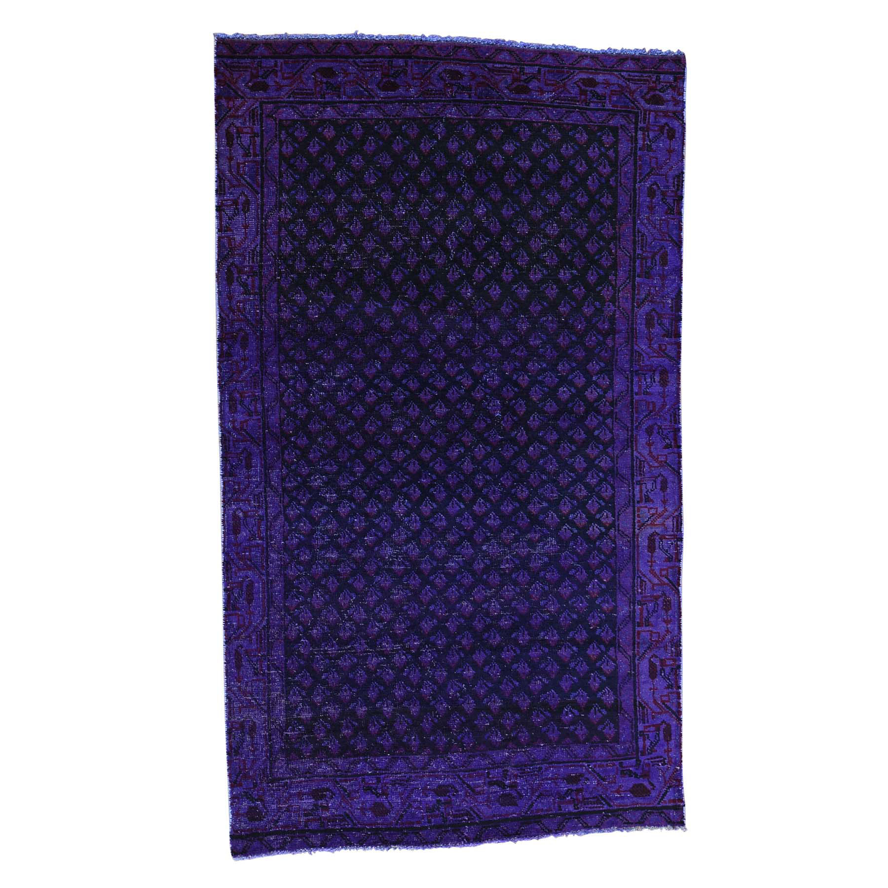 Fetneh Collection And Vintage Overdyed Collection Hand Knotted Purple Rug No: 162304