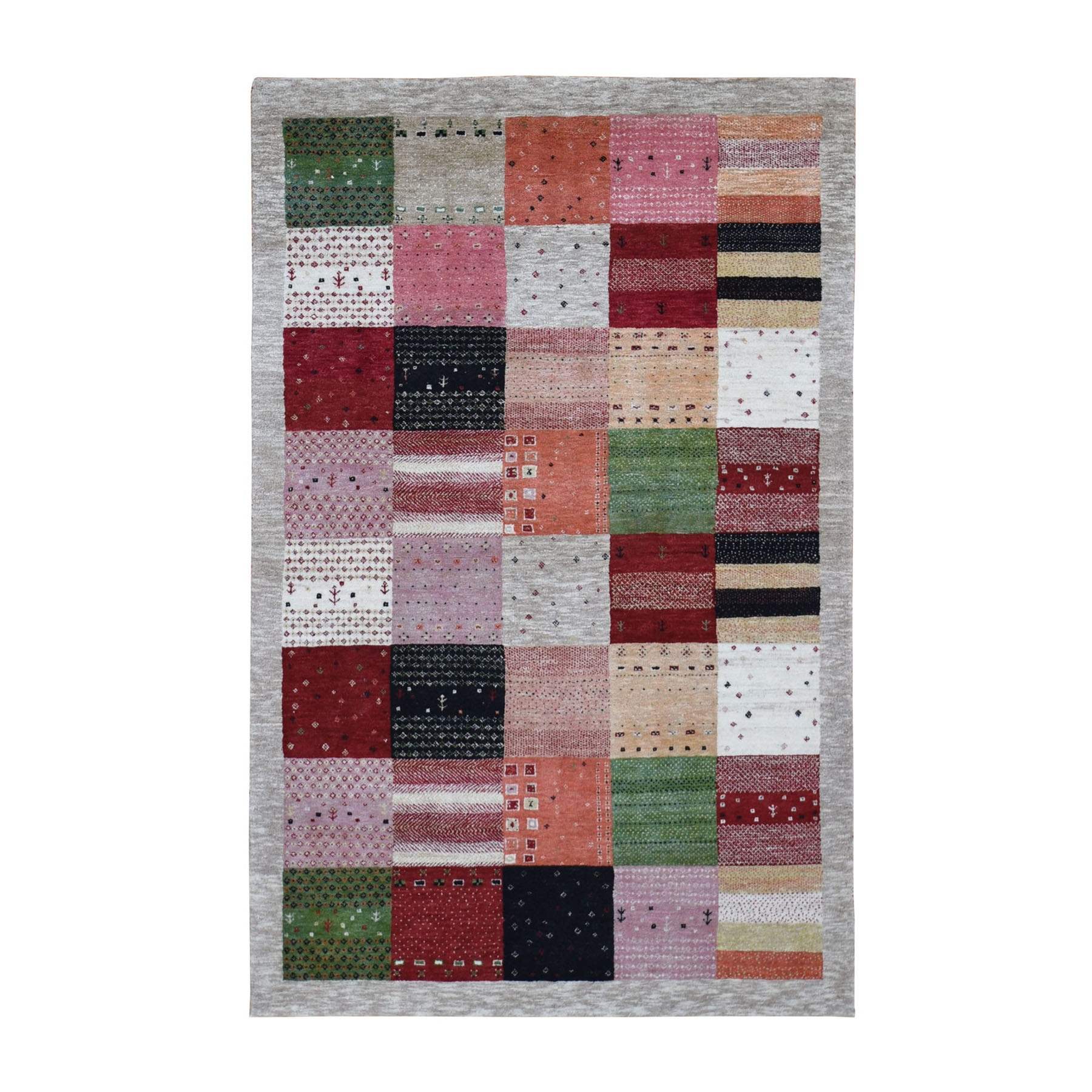 Mid Century Modern Collection Hand Knotted Grey Rug No: 0198118