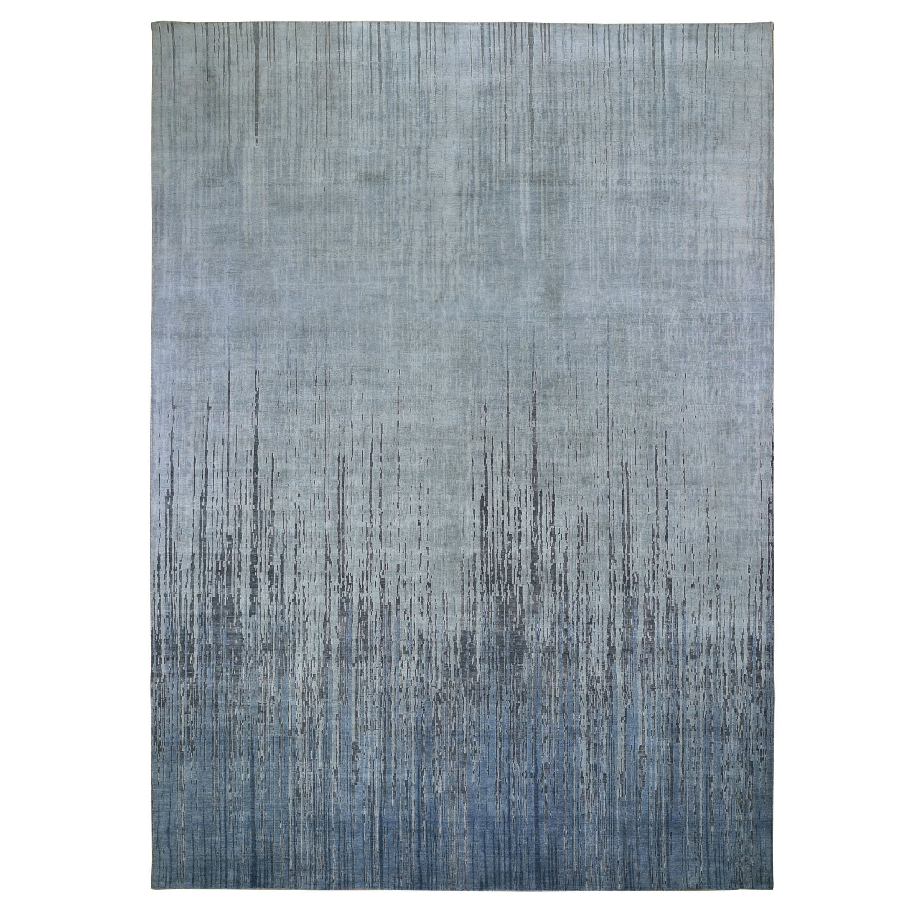 Mid Century Modern Collection Hand Knotted Grey Rug No: 0198156