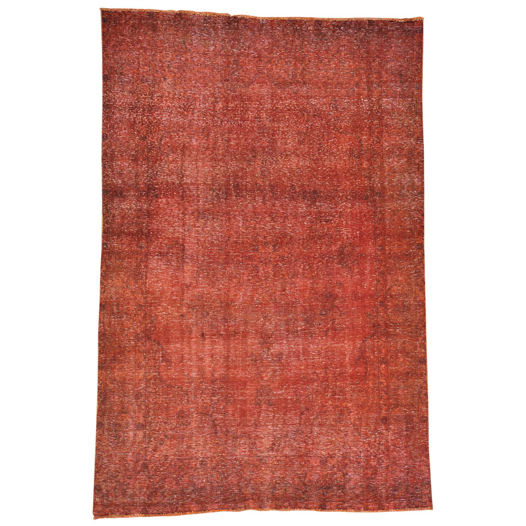 Fetneh Collection And Vintage Overdyed Collection Hand Knotted Red Rug No: 0148692