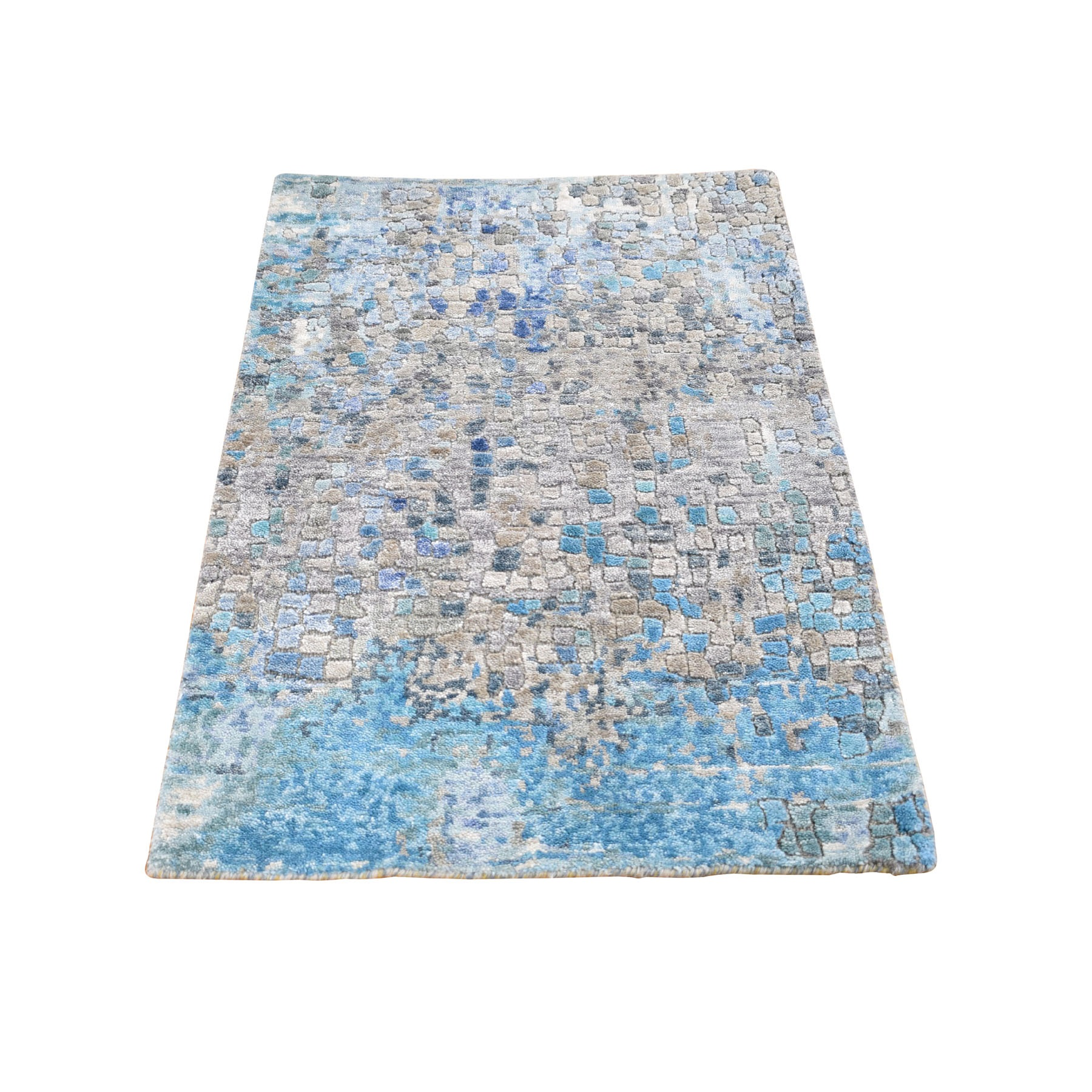 Mid Century Modern Collection Hand Knotted Grey Rug No: 0198562
