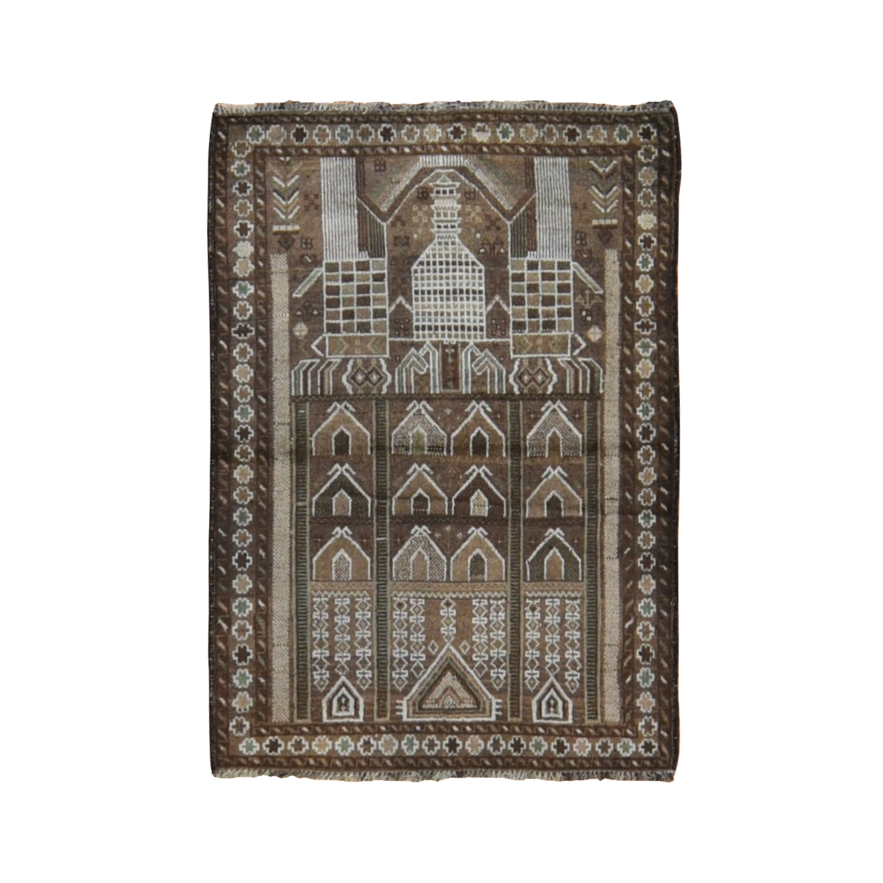 Nomadic And Village Collection Hand Knotted Brown Rug No: 0198594
