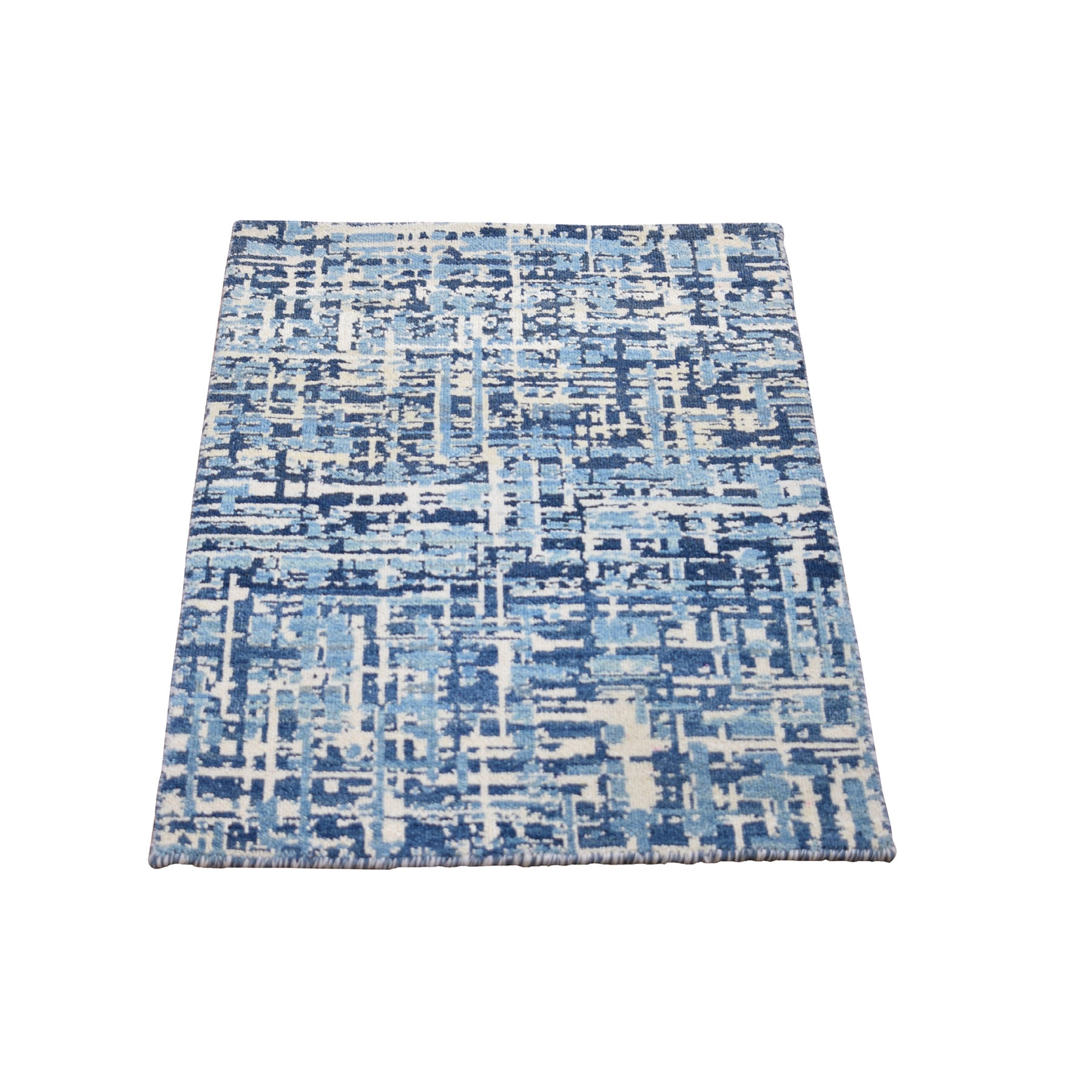 Mid Century Modern Collection Hand Knotted Blue Rug No: 0198596