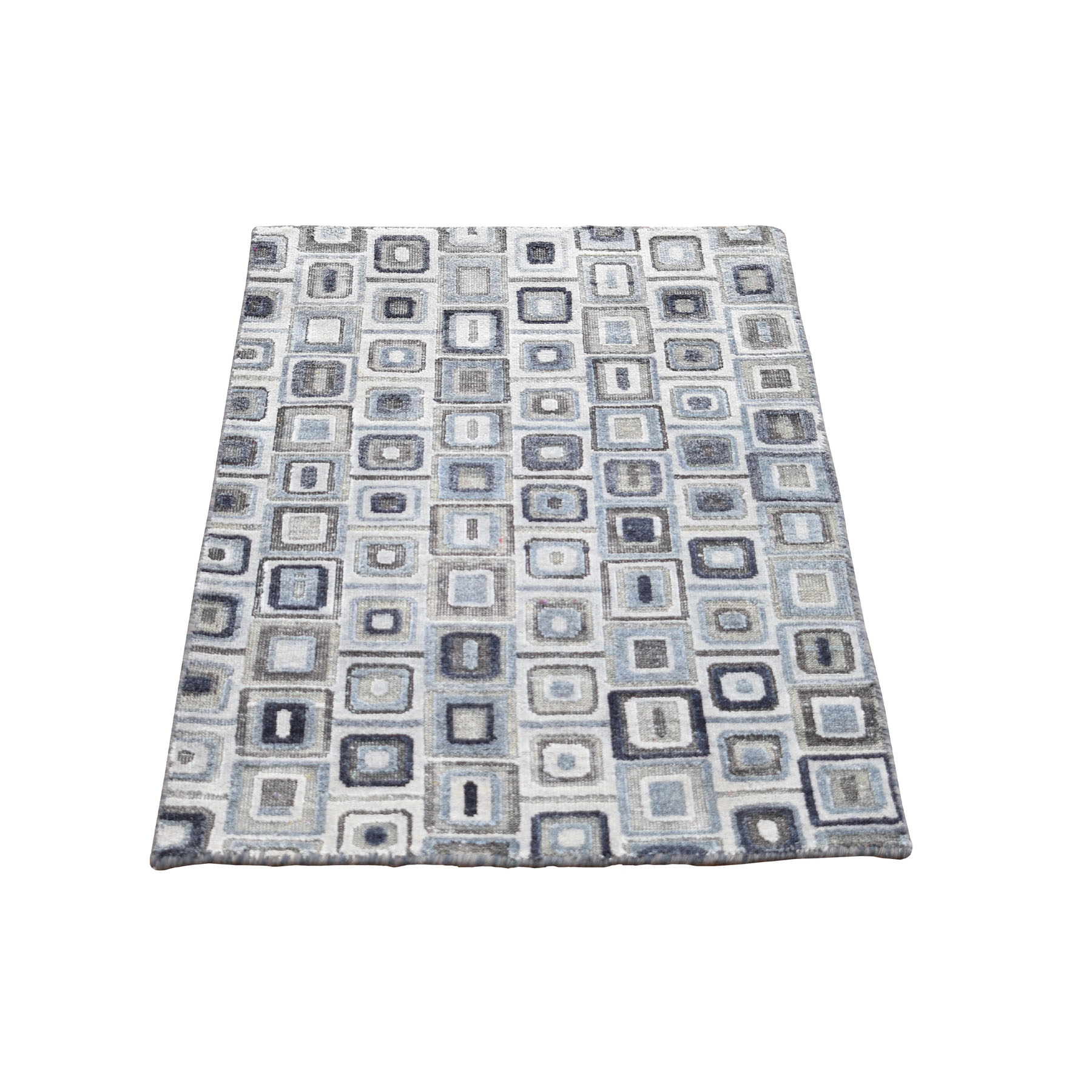 Mid Century Modern Collection Hand Knotted Grey Rug No: 0198598