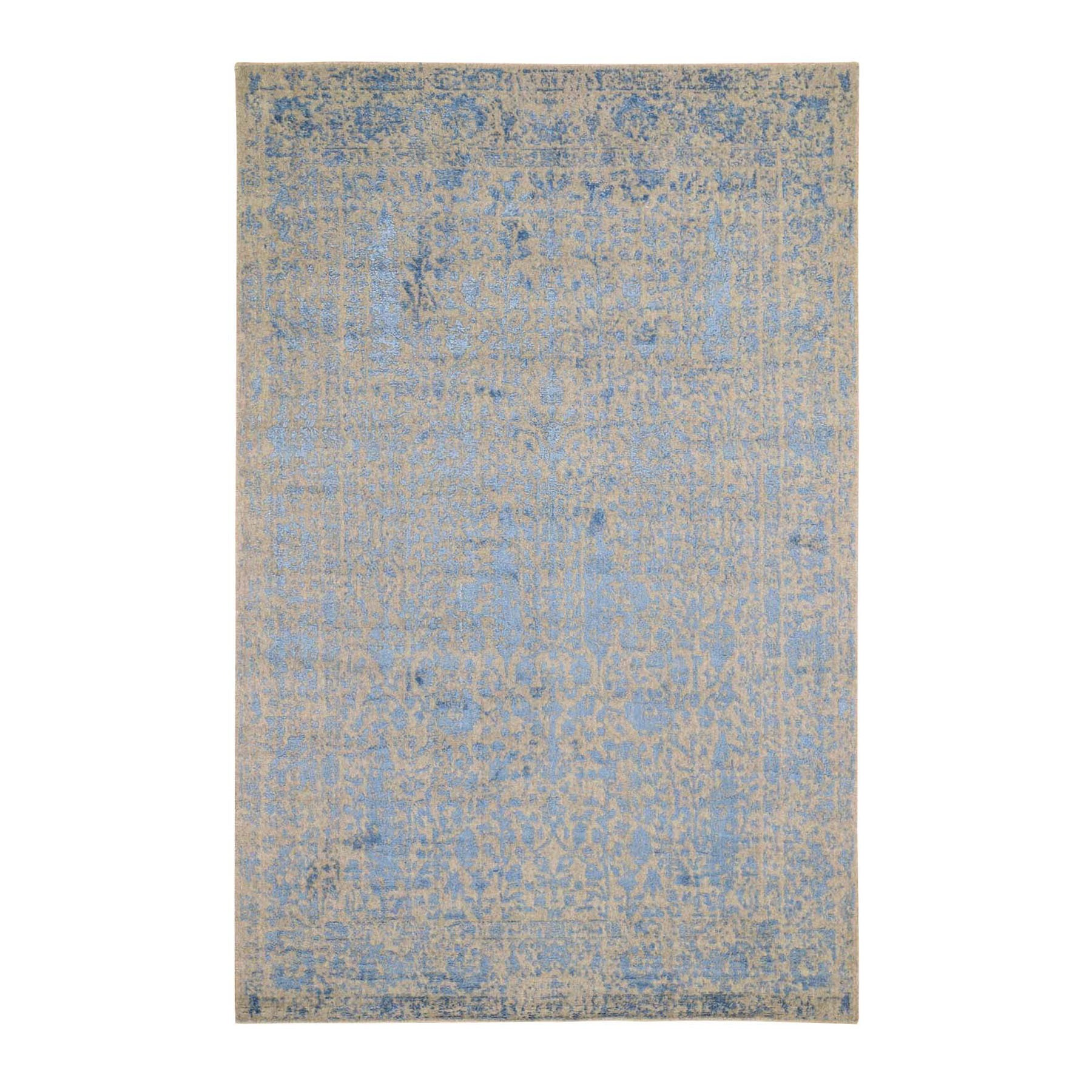 Transitional Hand Loomed Blue Rug No: 0198616