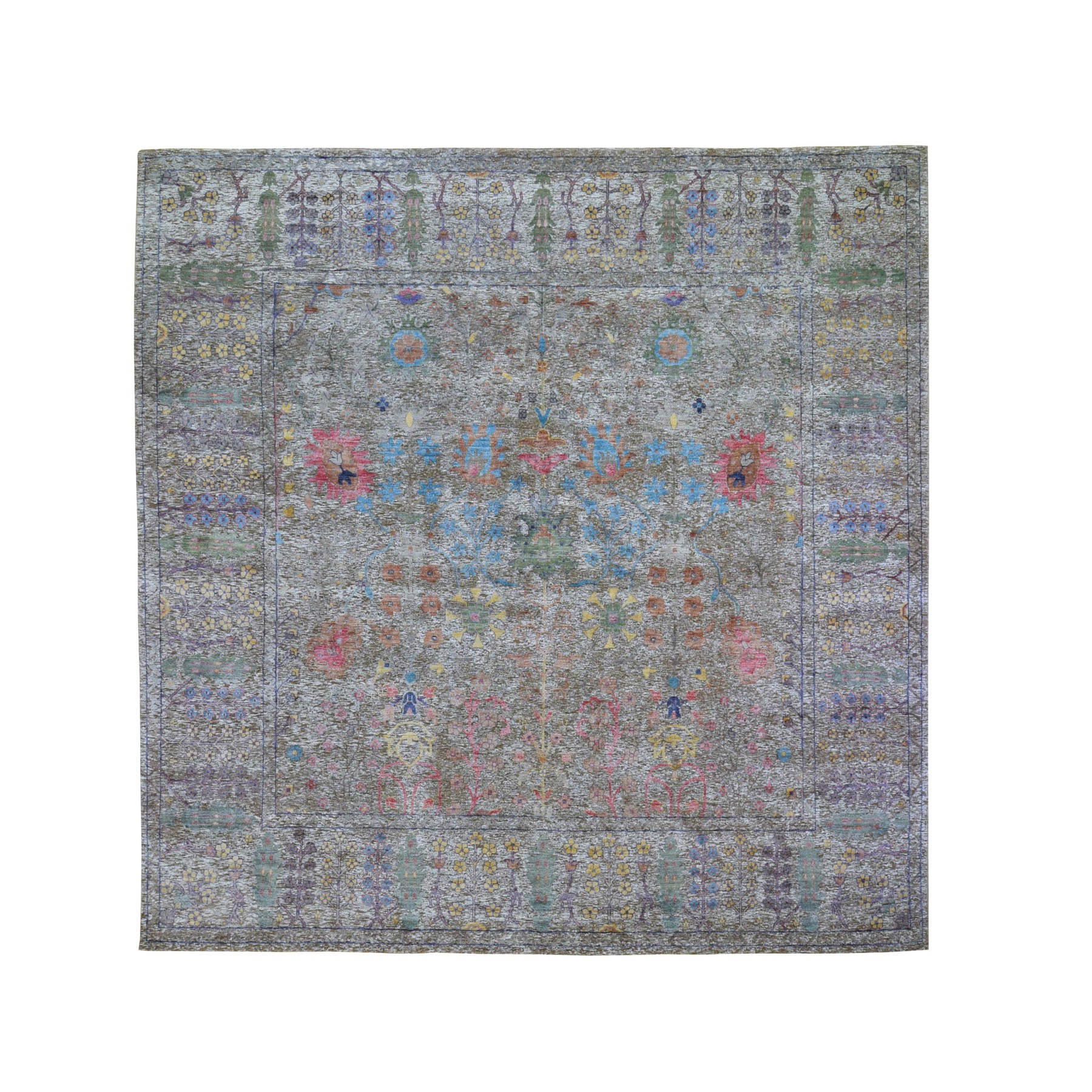 Wool and Real Silk Collection Hand Knotted Brown Rug No: 0198760