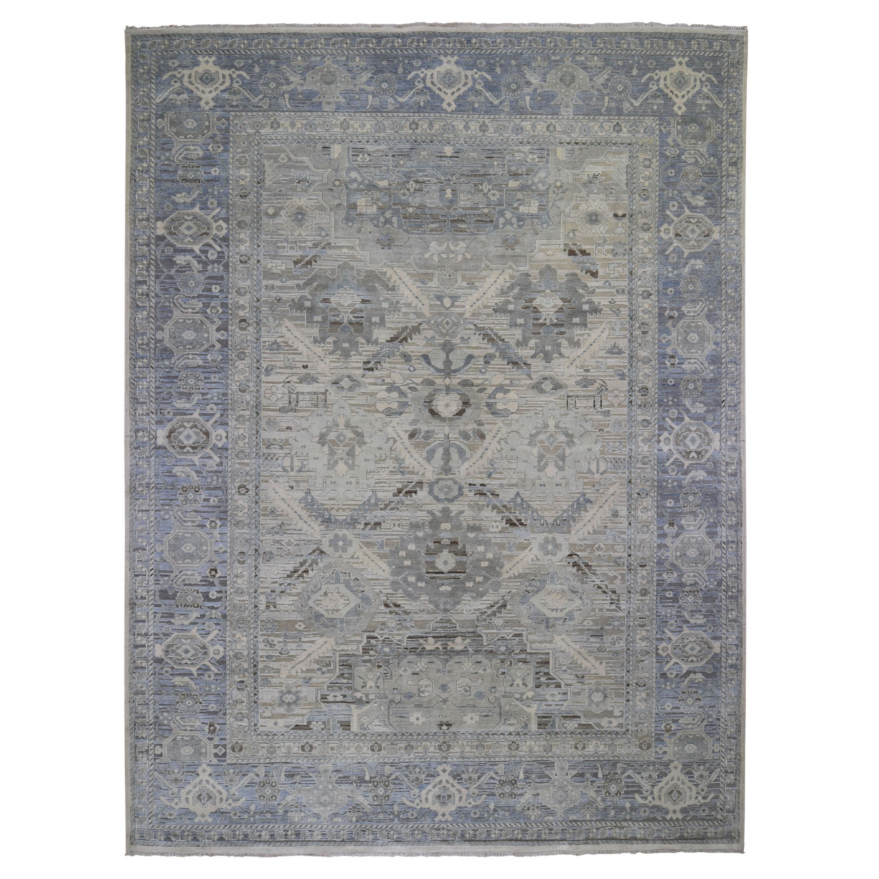 Agra And Turkish Collection Hand Knotted Ivory Rug No: 198730