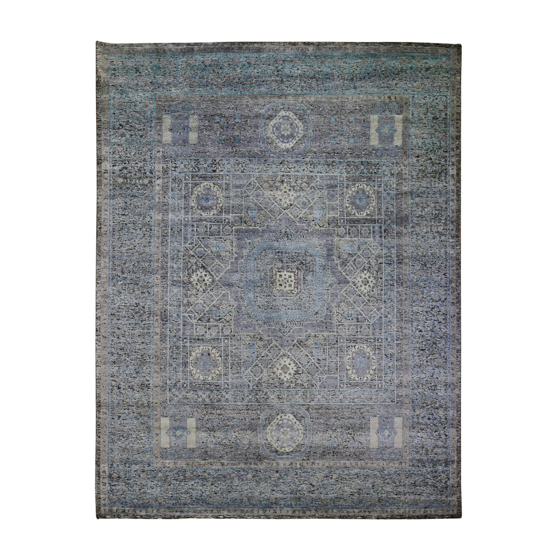 Intricate Collection Hand Knotted Black Rug No: 0198732