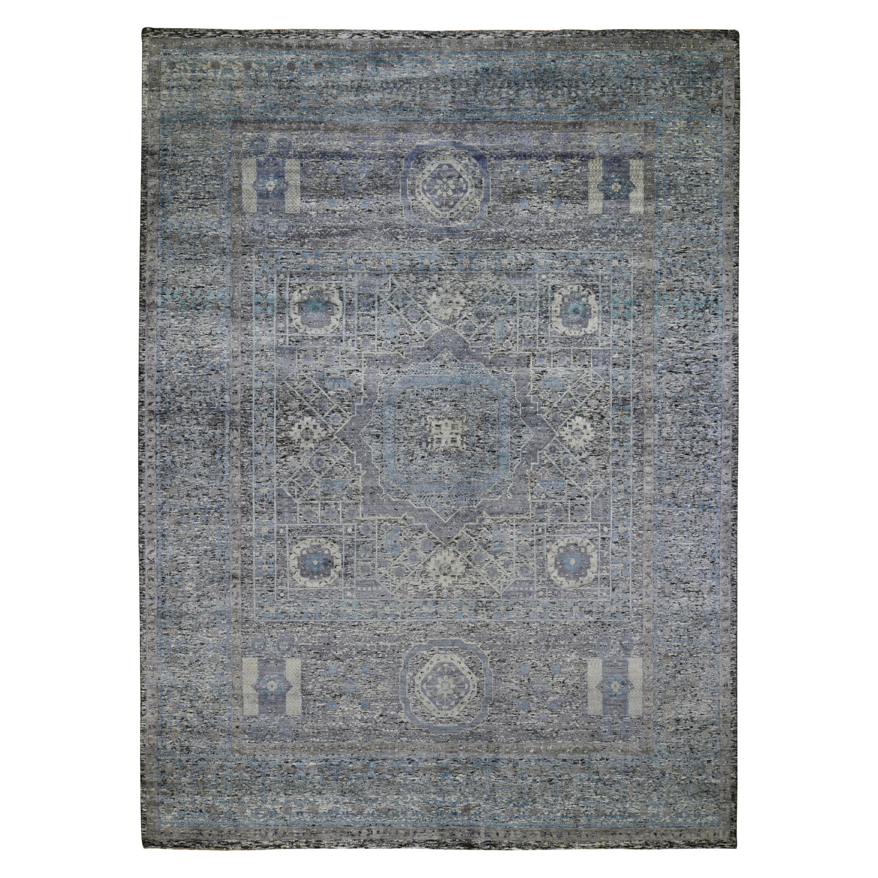 Intricate Collection Hand Knotted Black Rug No: 0198744