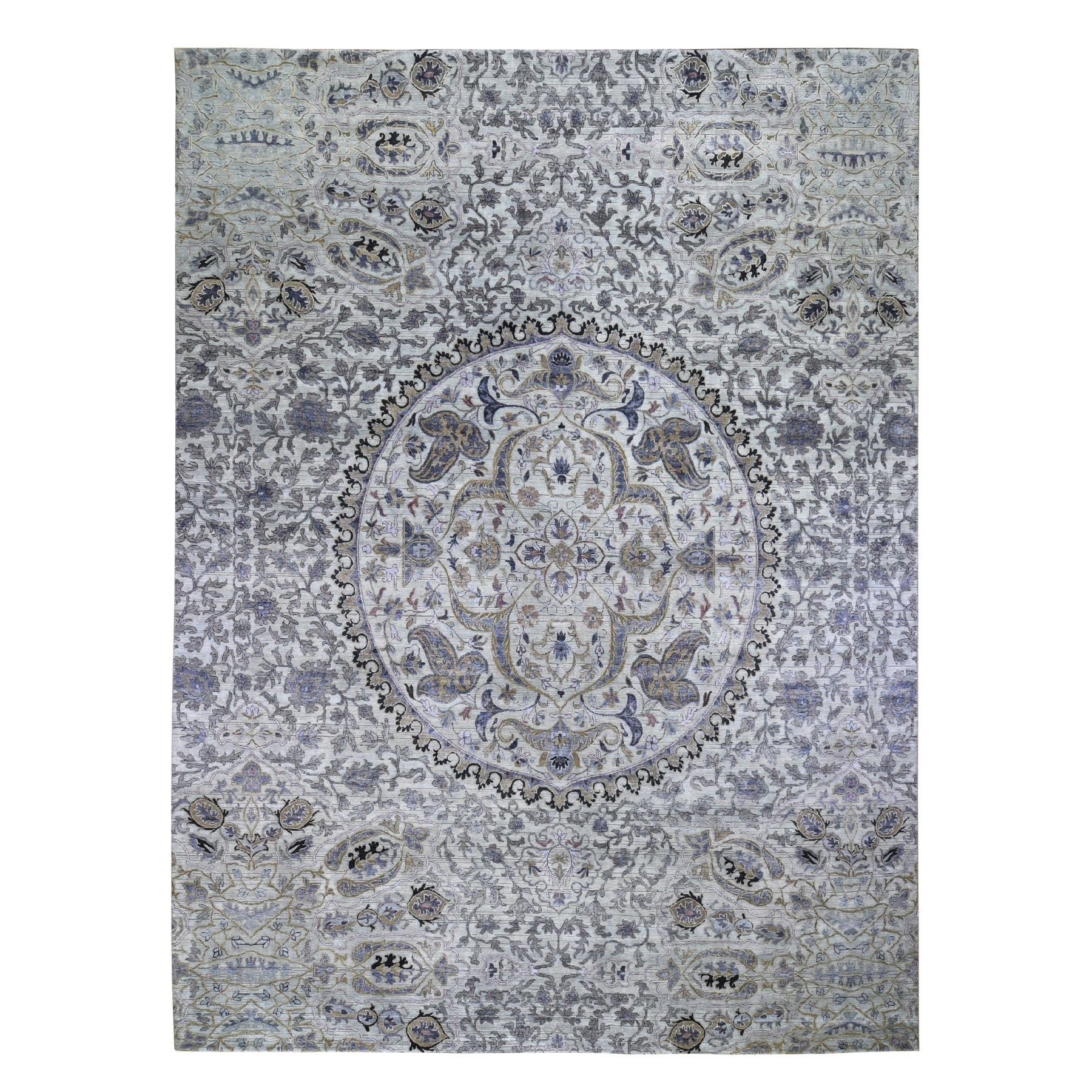 Mid Century Modern Collection Hand Knotted Grey Rug No: 0198820