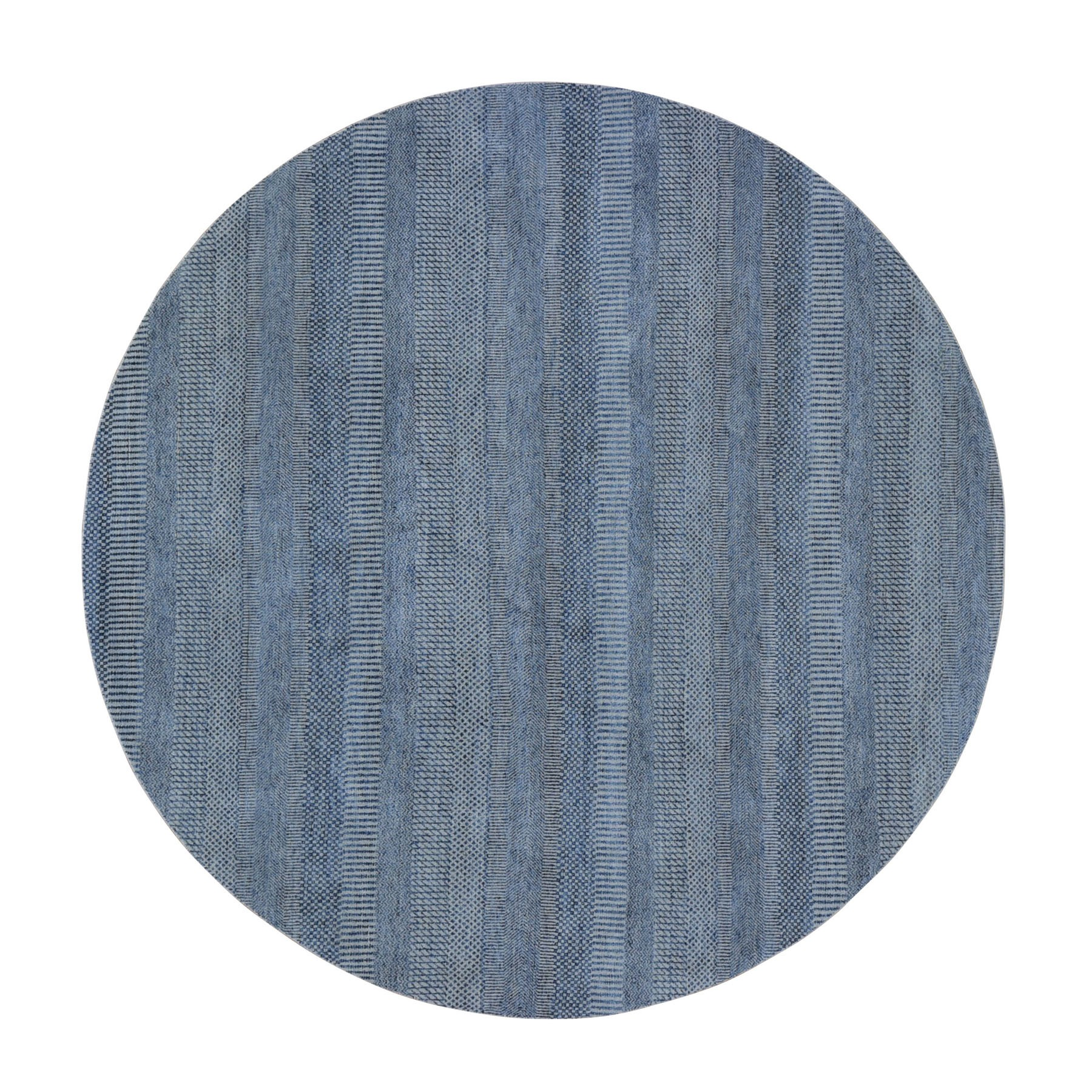 Mid Century Modern Collection Hand Knotted Blue Rug No: 0199014