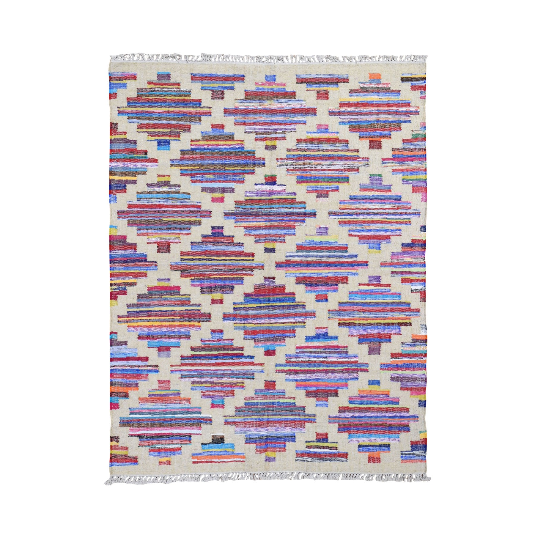 Fine Kilim Collection Hand Woven Ivory Rug No: 0199216